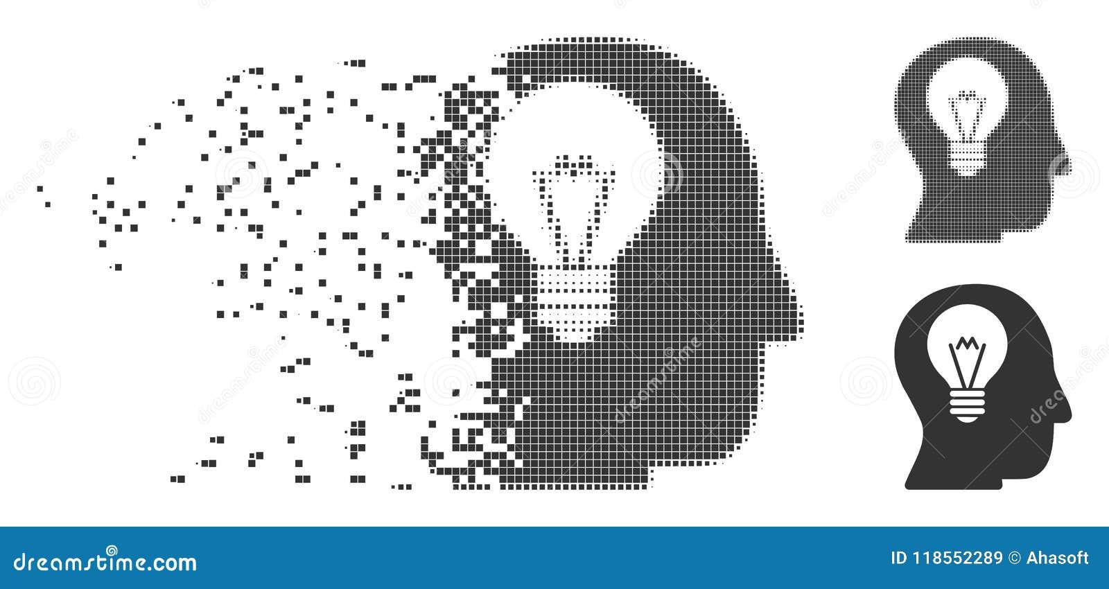 Icono hecho fragmentos bulbo del pixel del intelecto