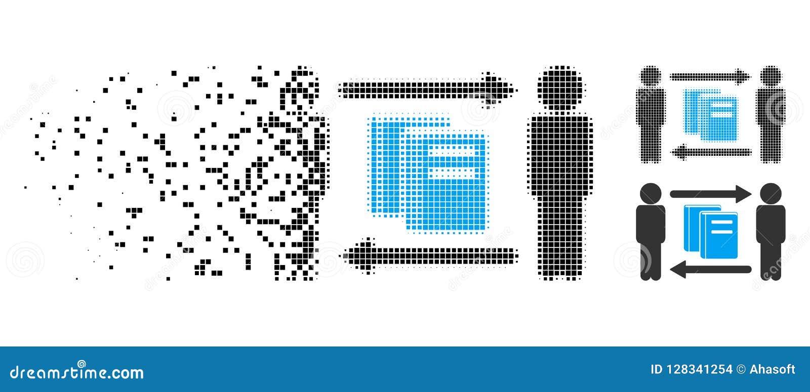 Icono hecho fragmentos de Dot Halftone Persons Books Exchange