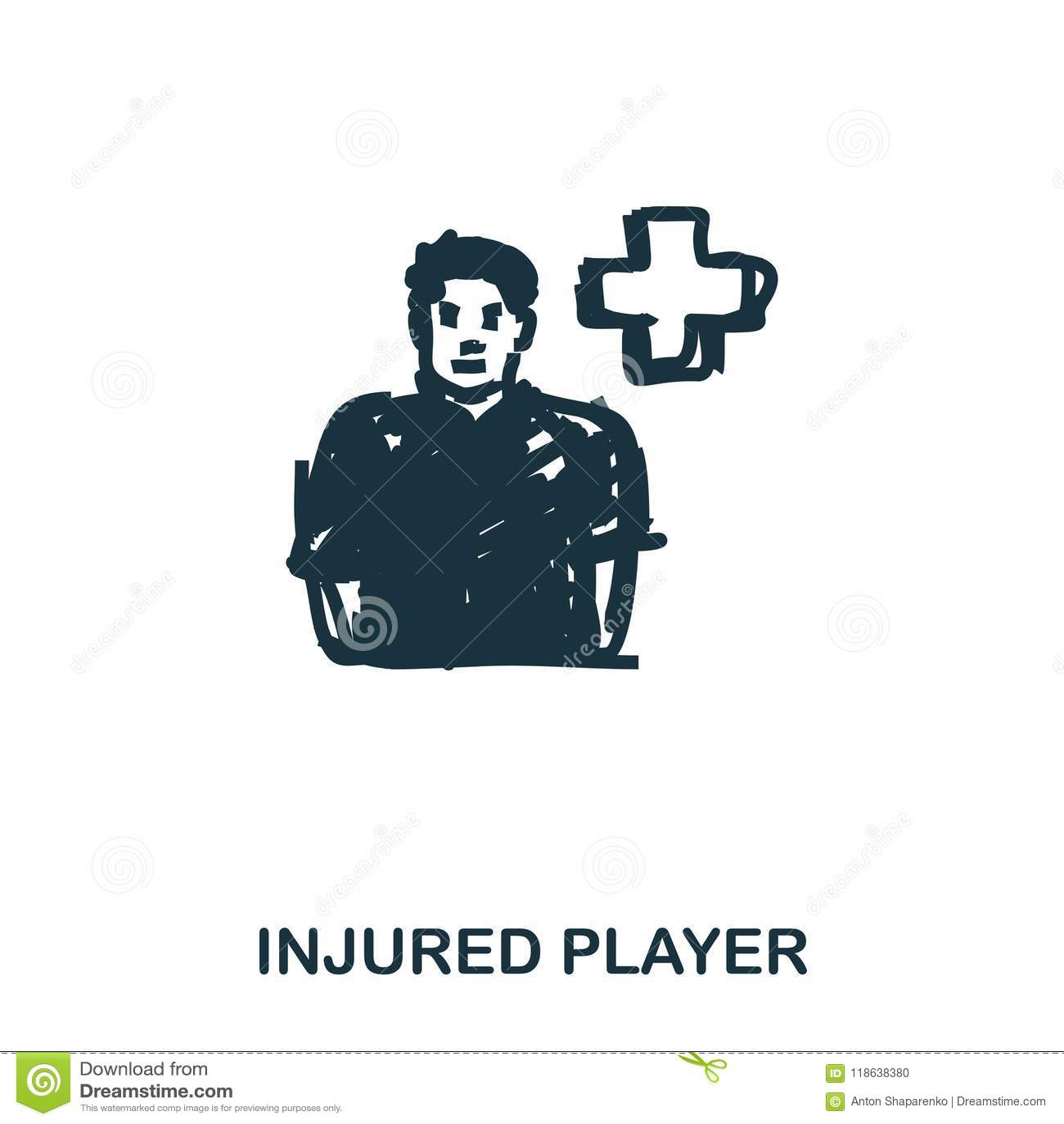 Icono herido del jugador Apps móviles, impresión y más uso El elemento simple canta Icono herido monocromo del jugador