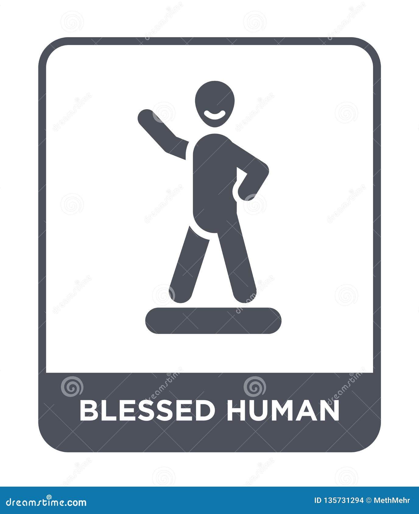 Icono humano bendecido en estilo de moda del diseño icono humano bendecido aislado en el fondo blanco icono humano bendecido del