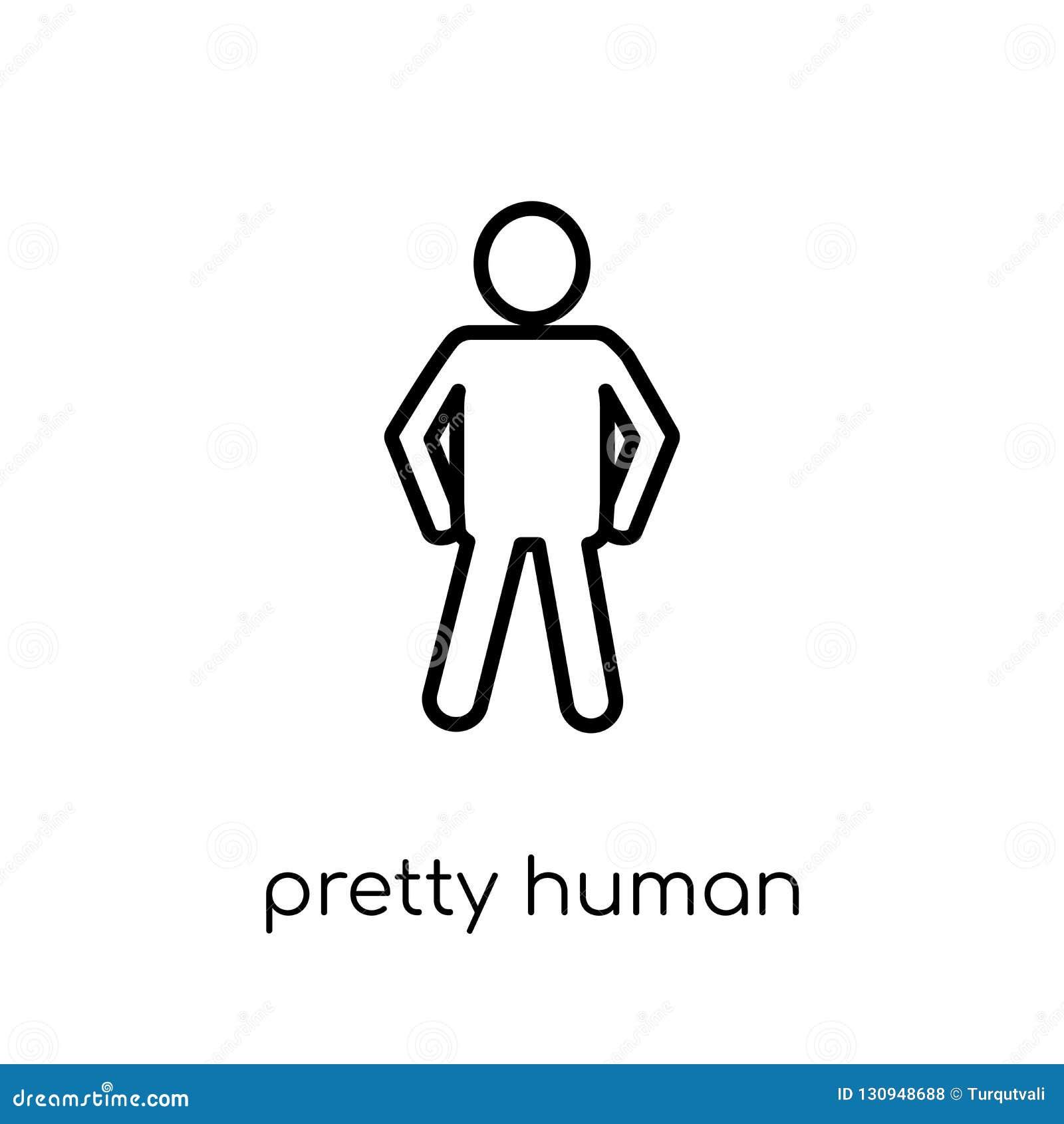 Icono humano bonito Vector linear plano moderno de moda bastante humano