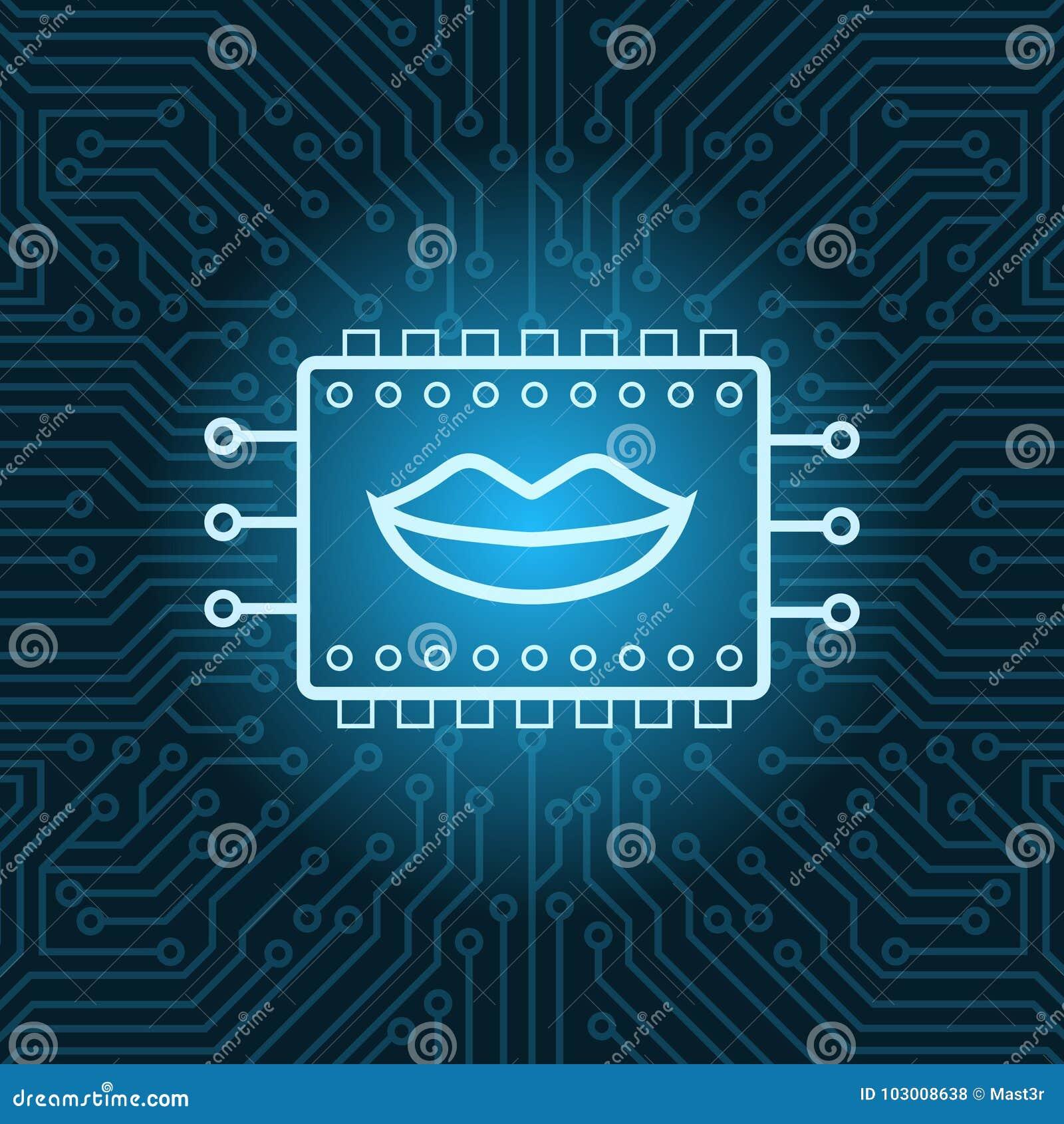 Icono humano de la boca en el fondo de Chip Over Blue Circuit Motherboard