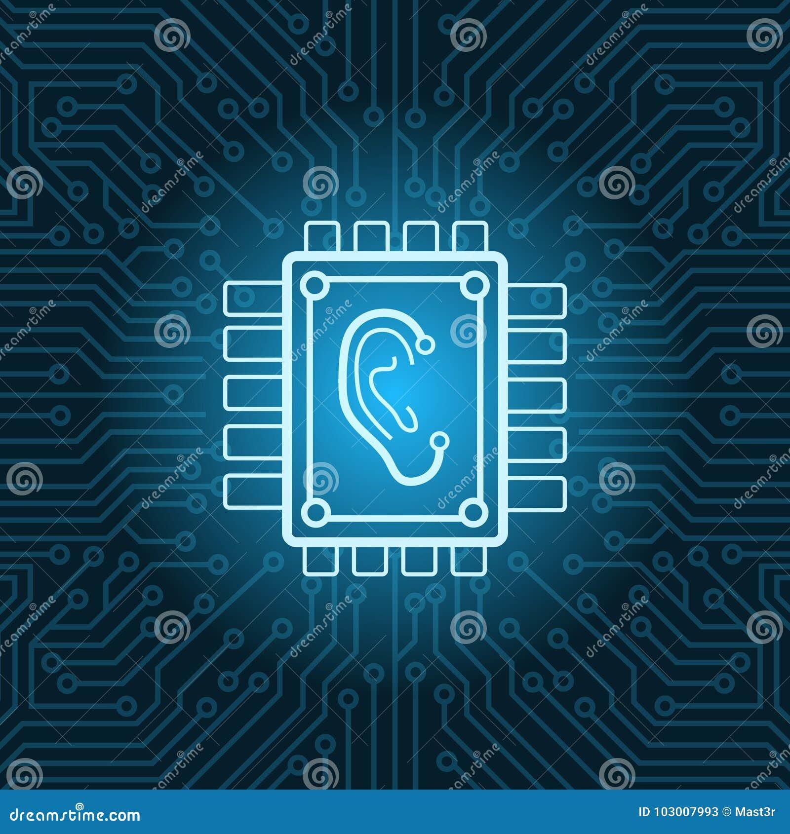 Icono humano del oído en el fondo de Chip Over Blue Circuit Motherboard