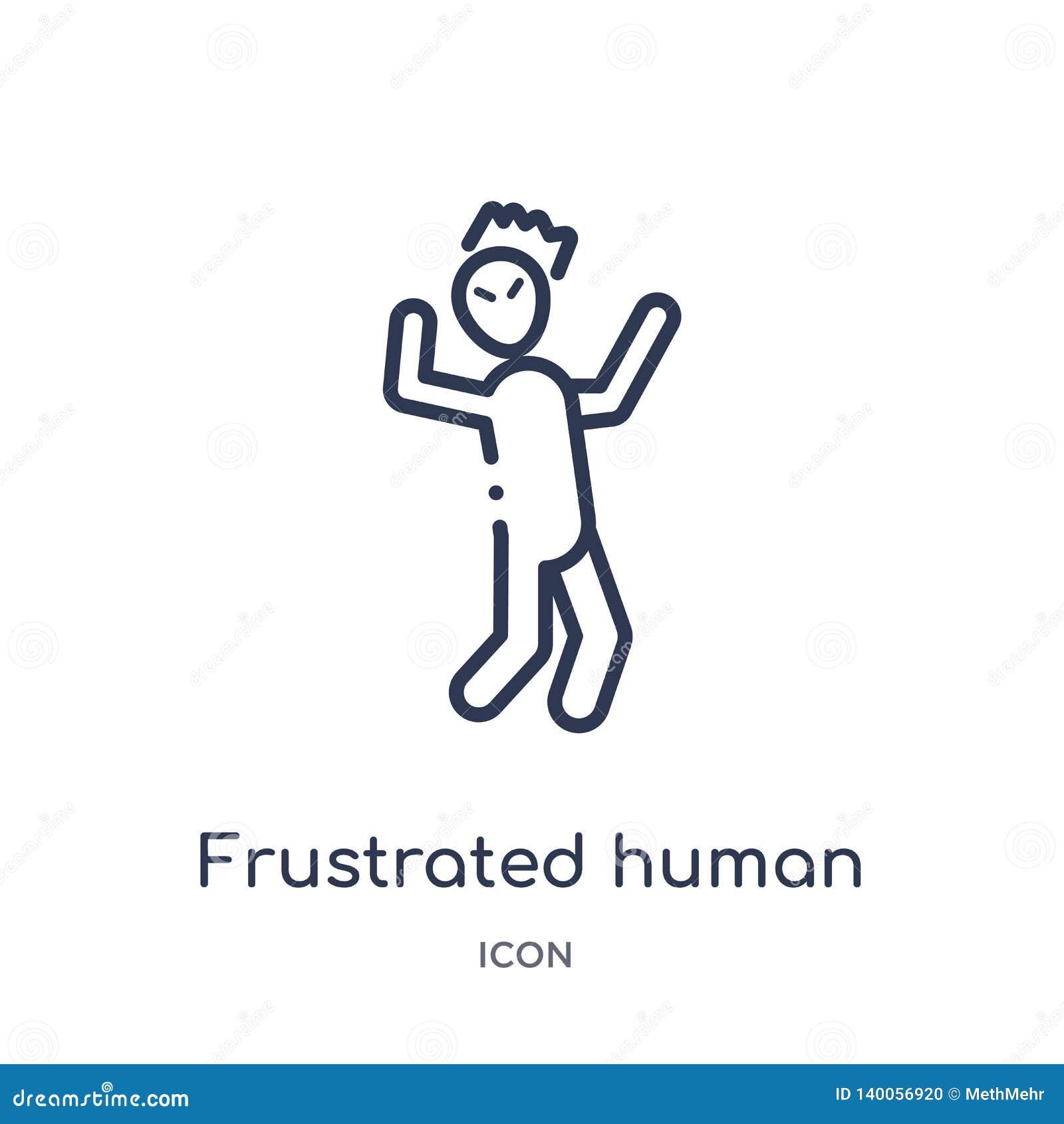 Icono humano frustrado linear de la colección del esquema de las sensaciones La línea fina frustró vector humano aislada en el fo
