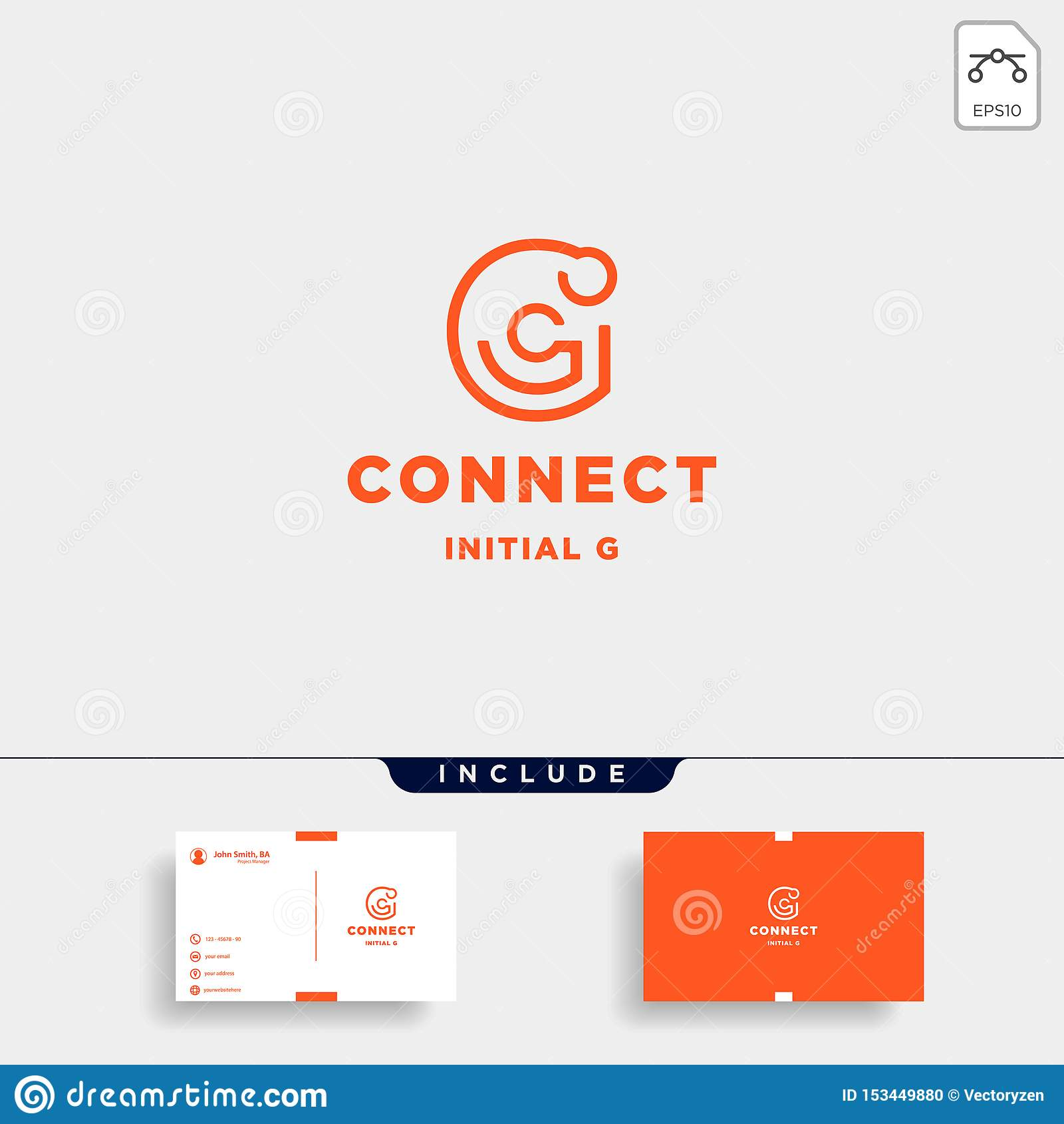 Icono inicial del símbolo de la tecnología de diseño del logotipo de la conexión de g
