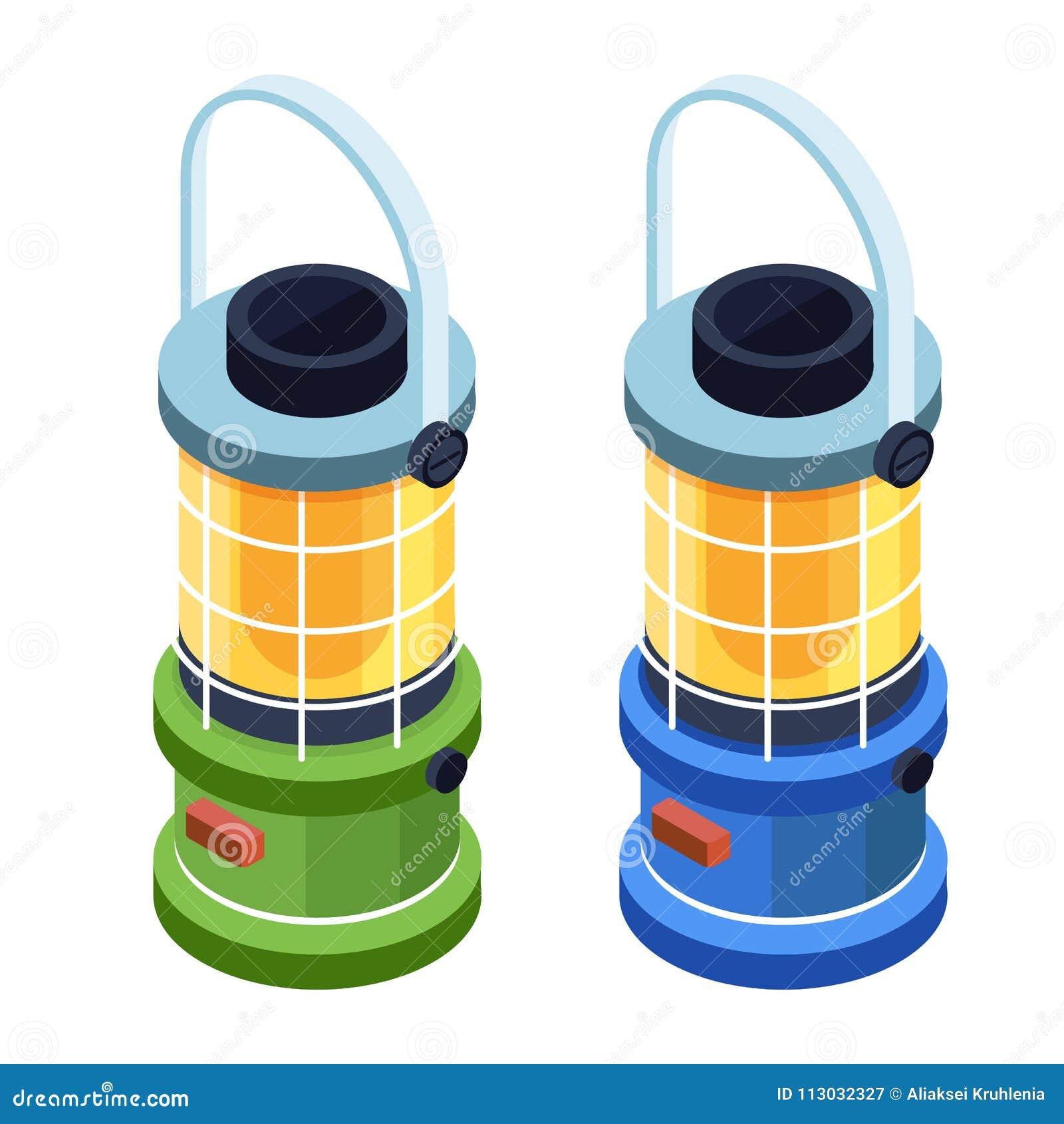 Icono isométrico de la lámpara de la linterna que acampa o de gas