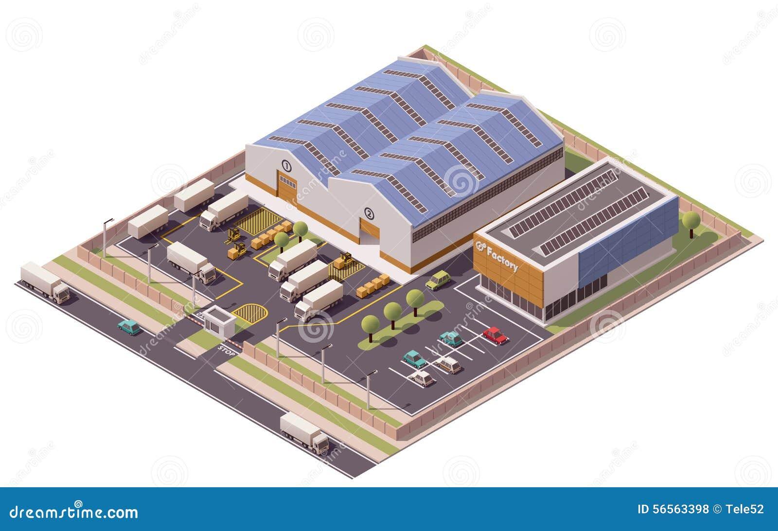 Icono isométrico de los edificios de la fábrica del vector