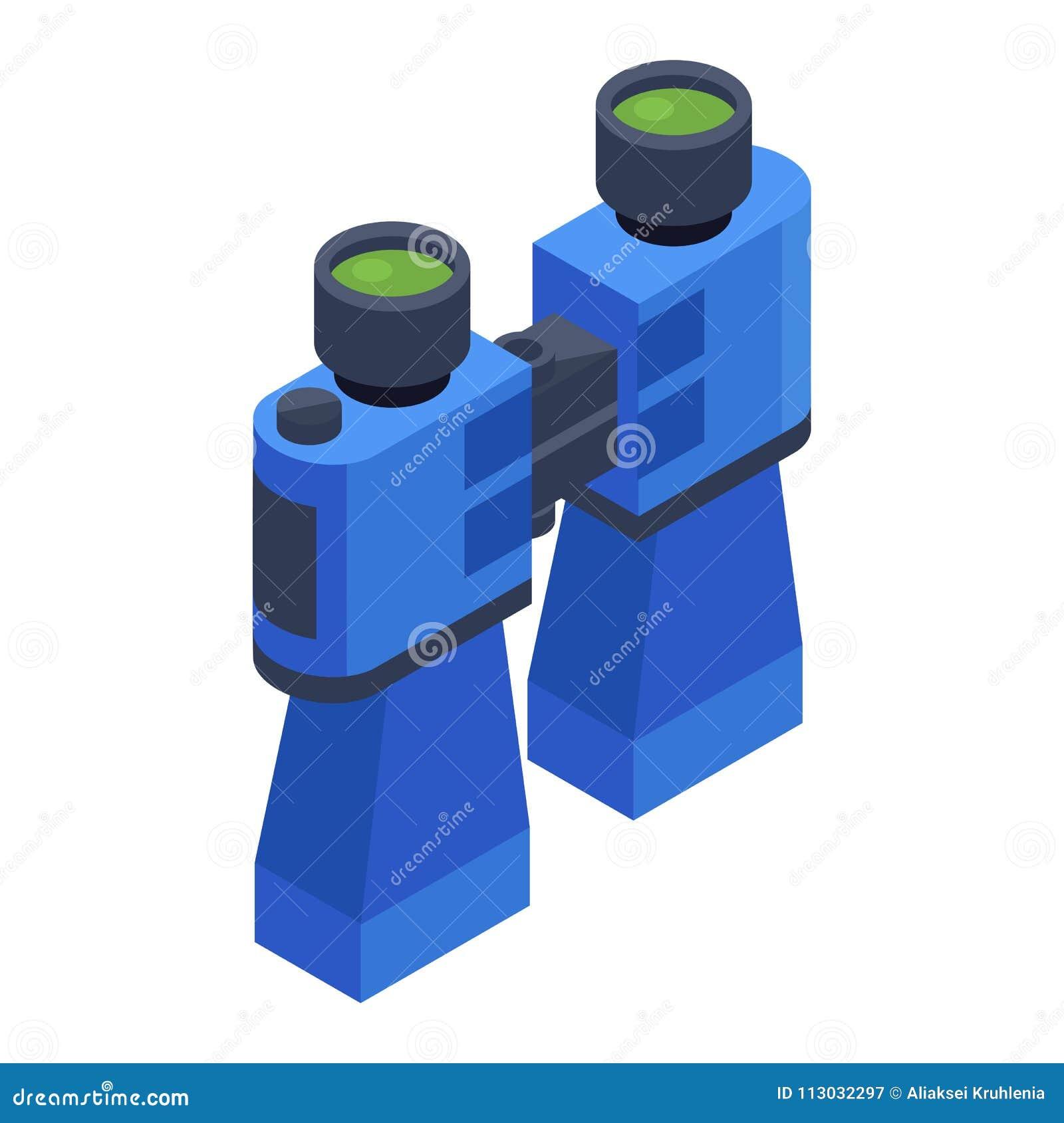 Icono isométrico de los prismáticos azules