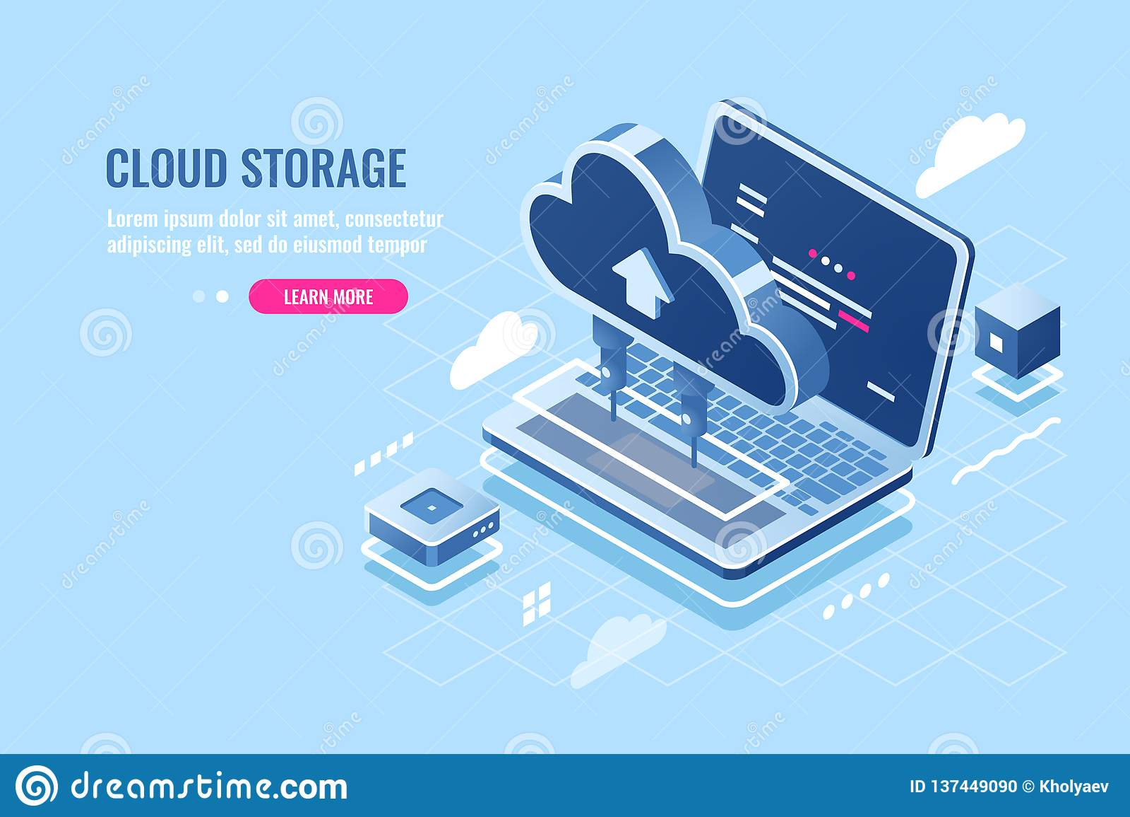 Icono isométrico del almacenamiento de datos de la nube, fichero que carga en el servidor para el concepto del acceso remoto, ord