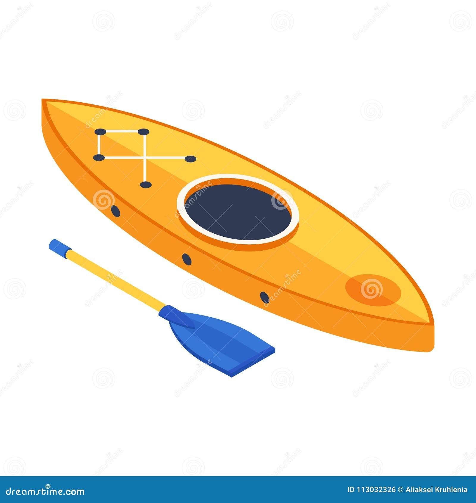 Icono isométrico del barco del kajak
