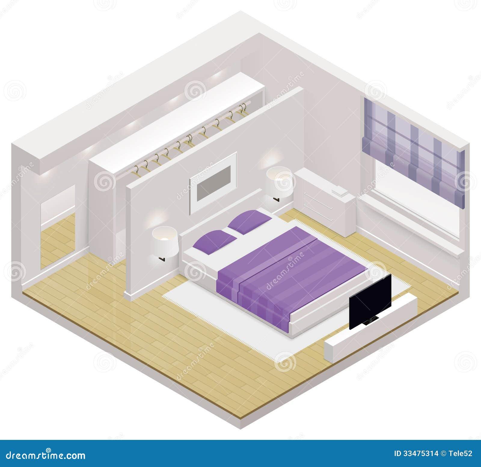 Icono isométrico del dormitorio del vector