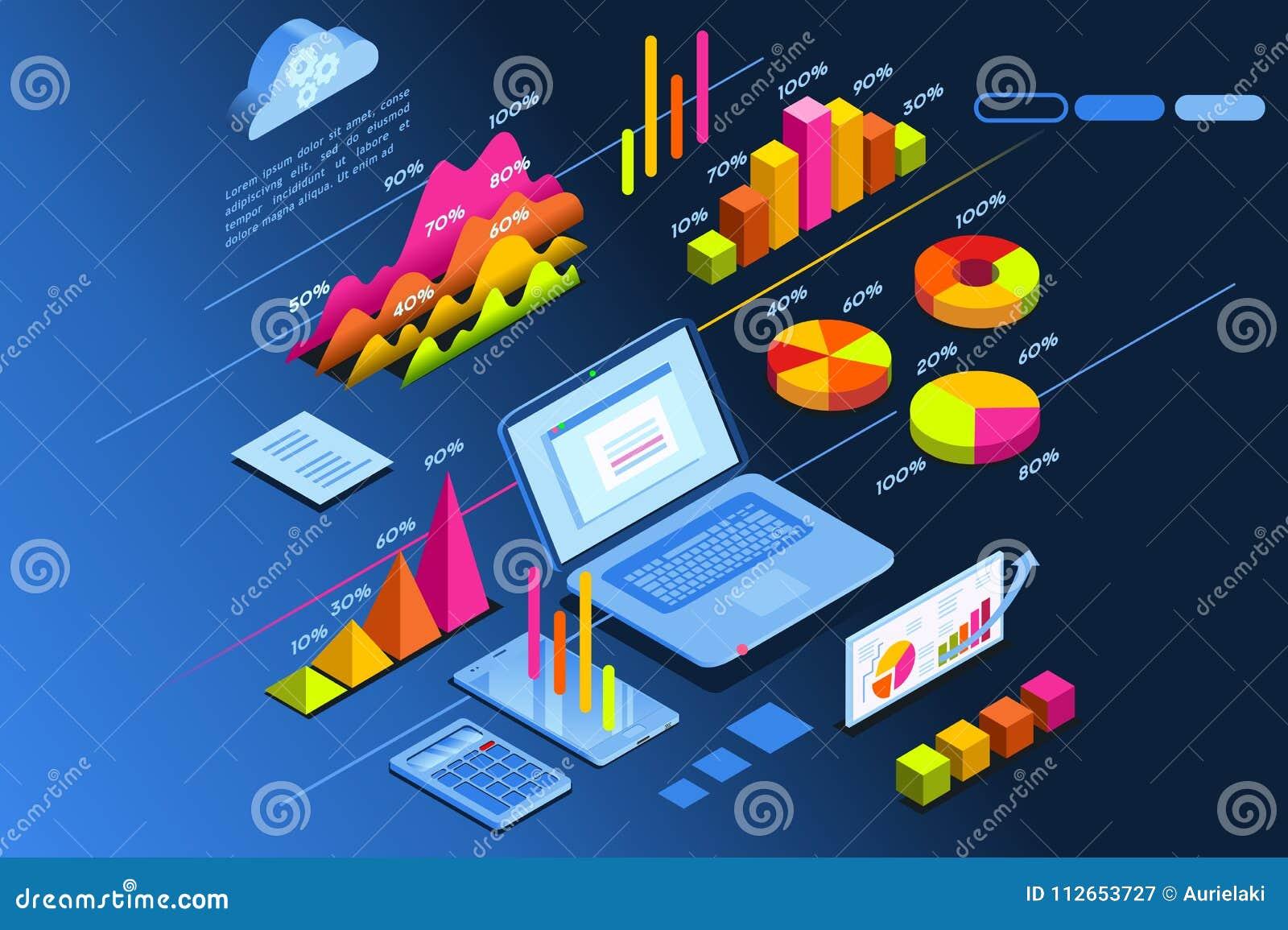 Icono isométrico del planeamiento de la inversión del planificador de la inversión
