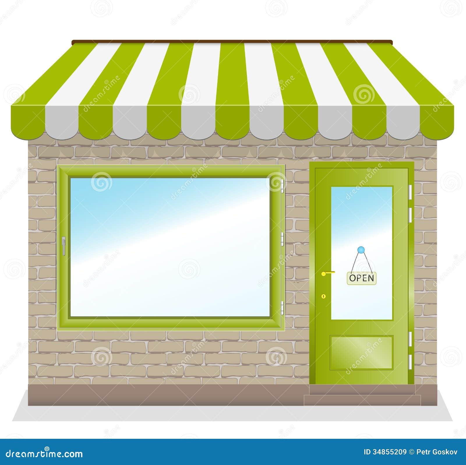 Icono Lindo De La Tienda Con Los Toldos Verdes