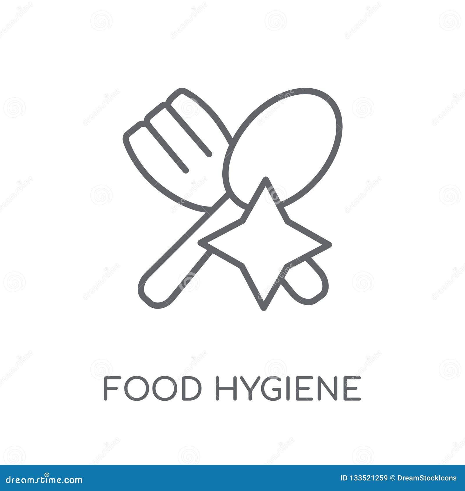 Icono linear de la higiene alimenticia Conce moderno del logotipo de la higiene alimenticia del esquema