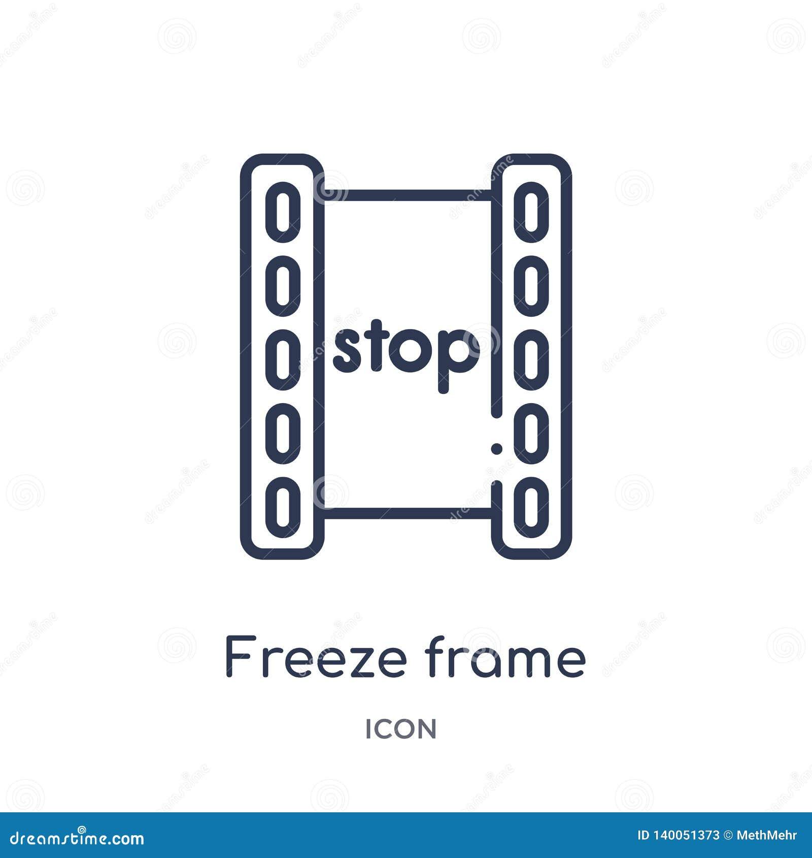 Icono linear de la imagen congelada de la colección del esquema del cine Línea fina vector de la imagen congelada aislado en el f