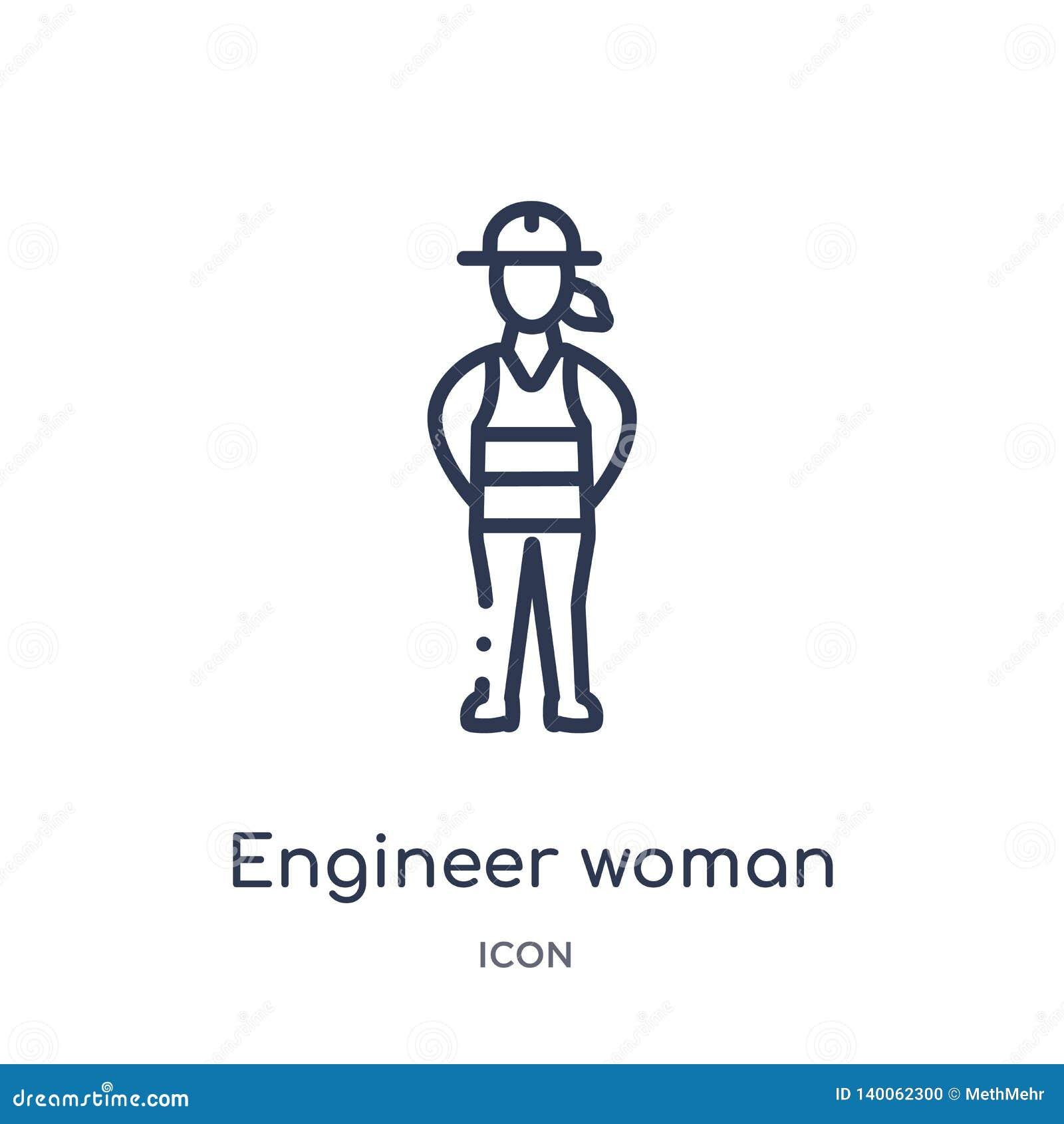 Icono linear de la mujer del ingeniero de la colección del esquema de las señoras Línea fina icono de la mujer del ingeniero aisl