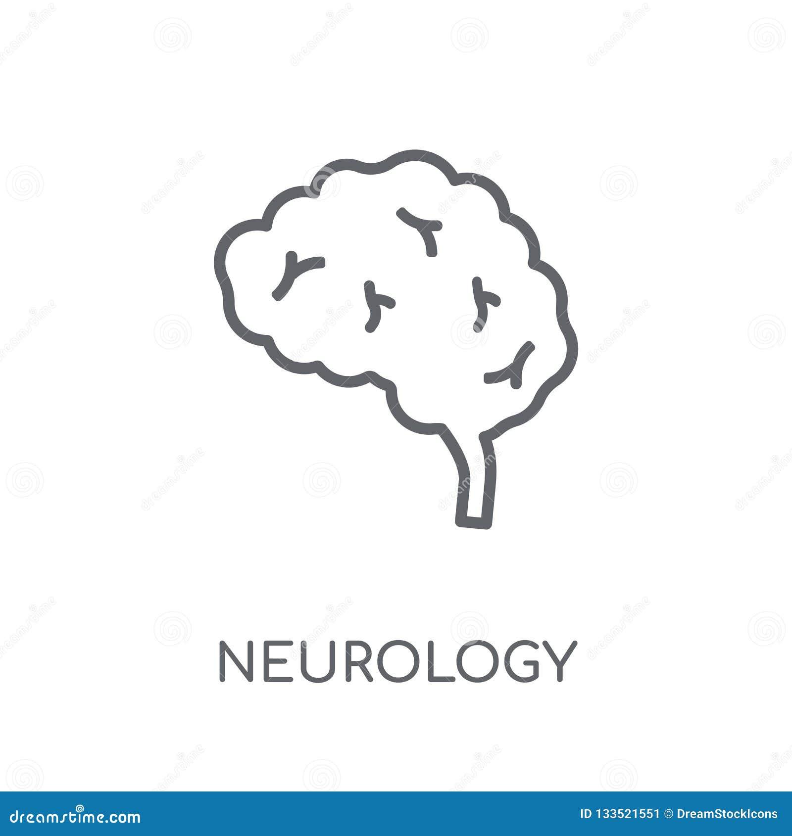 Icono linear de la neurología Concepto moderno del logotipo de la neurología del esquema encendido