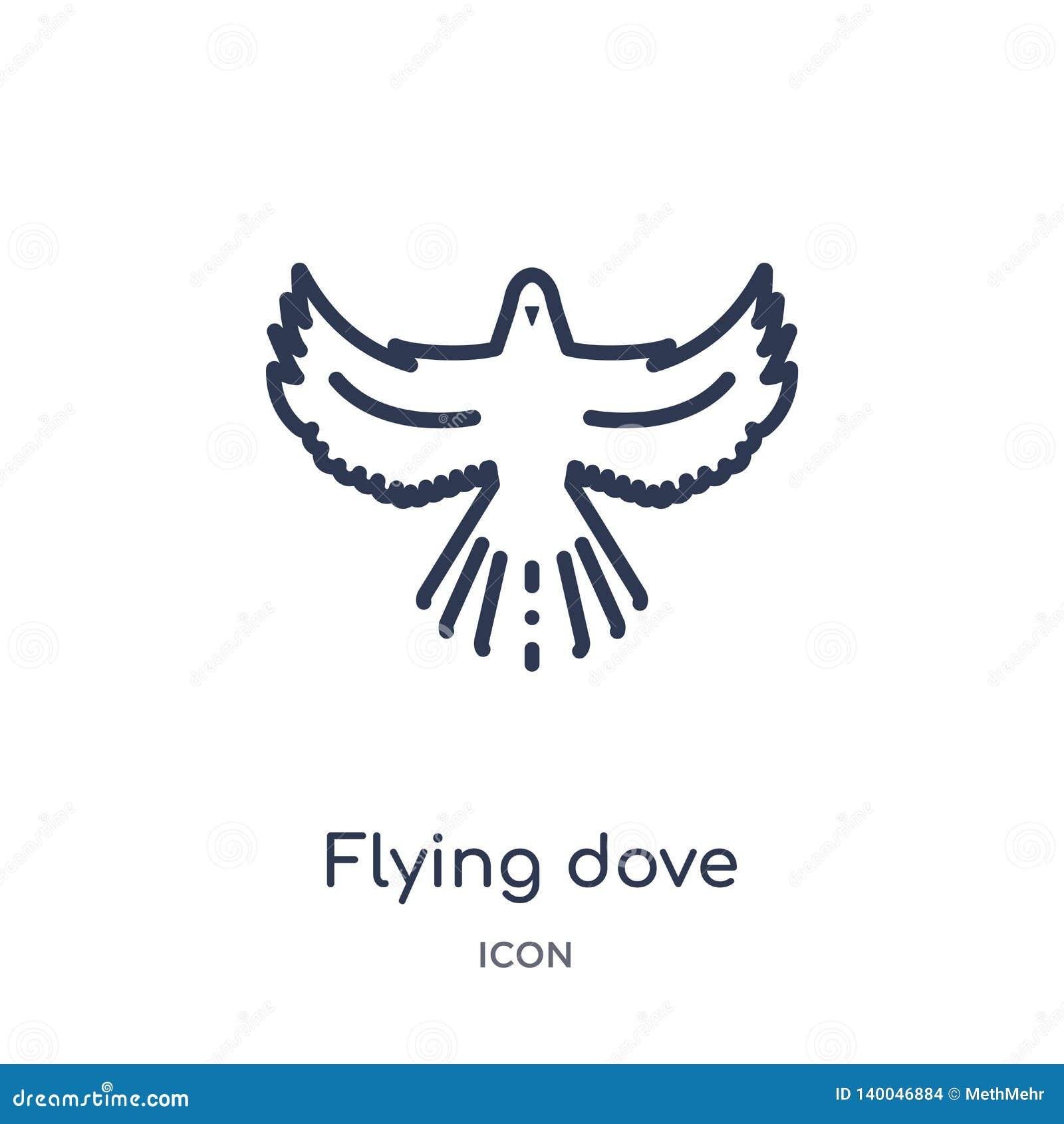 Icono linear de la paloma que vuela de animales y de la colección del esquema de la fauna Línea fina vector de la paloma del vuel