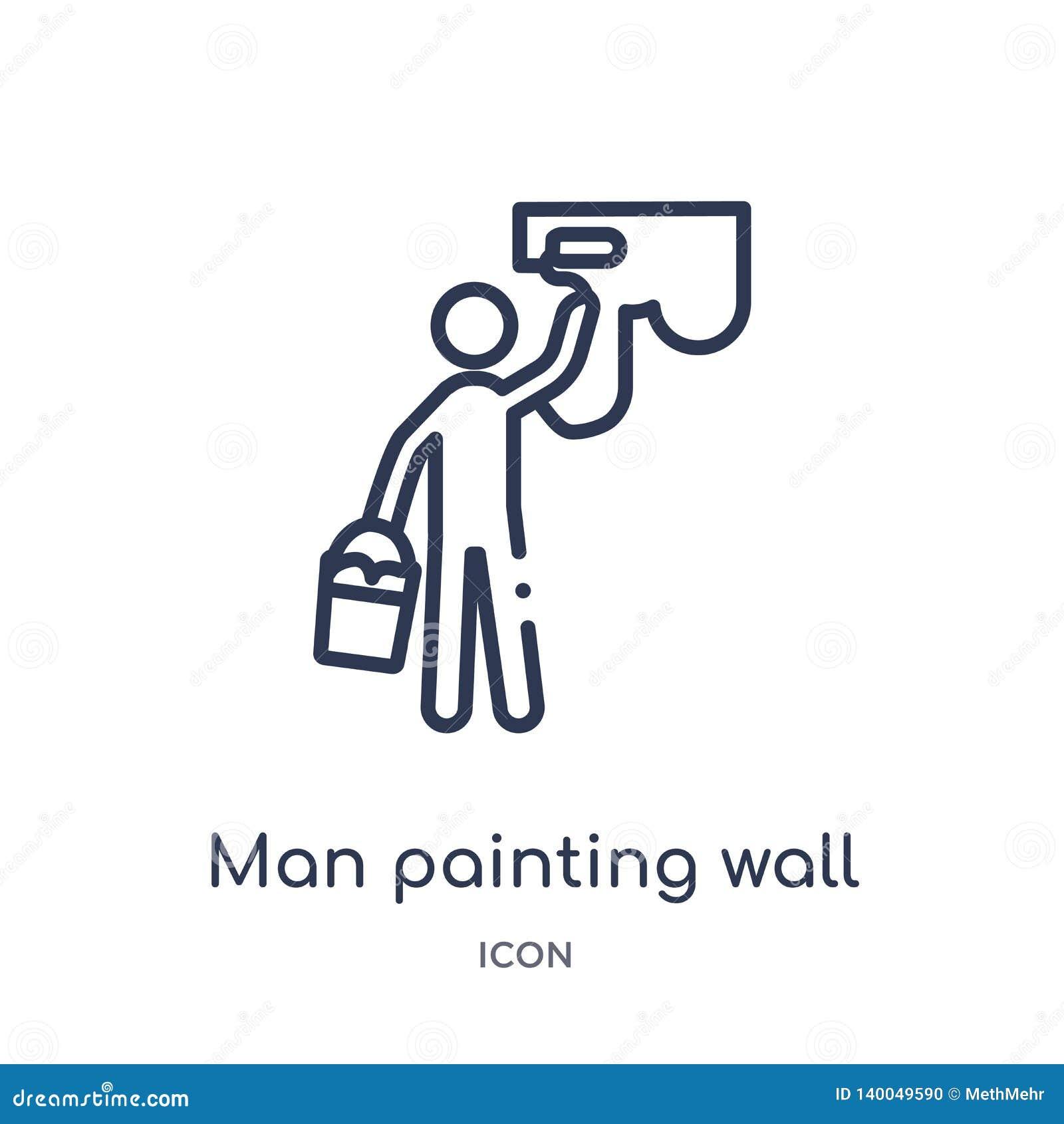Icono linear de la pared de la pintura del hombre de la colección del esquema del comportamiento Fino vector de la pared de la pi