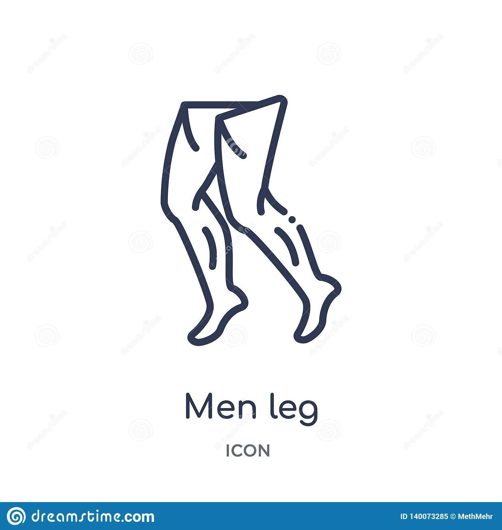 Icono linear de la pierna de los hombres de la colección humana del esquema de las partes del cuerpo Fino icono de la pierna de l