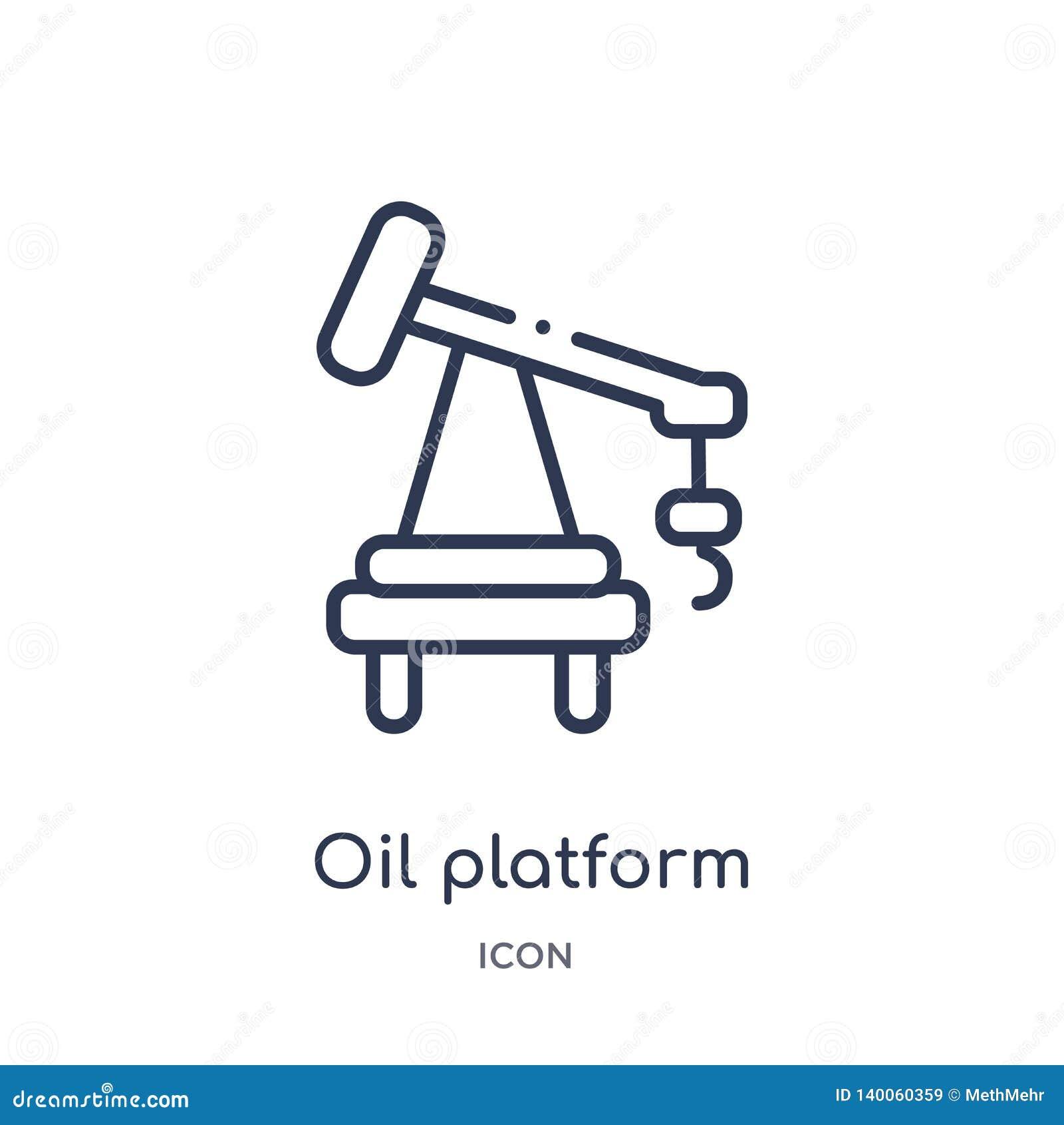 Icono linear de la plataforma petrolera de la colección del esquema de la industria Línea fina icono de la plataforma petrolera a
