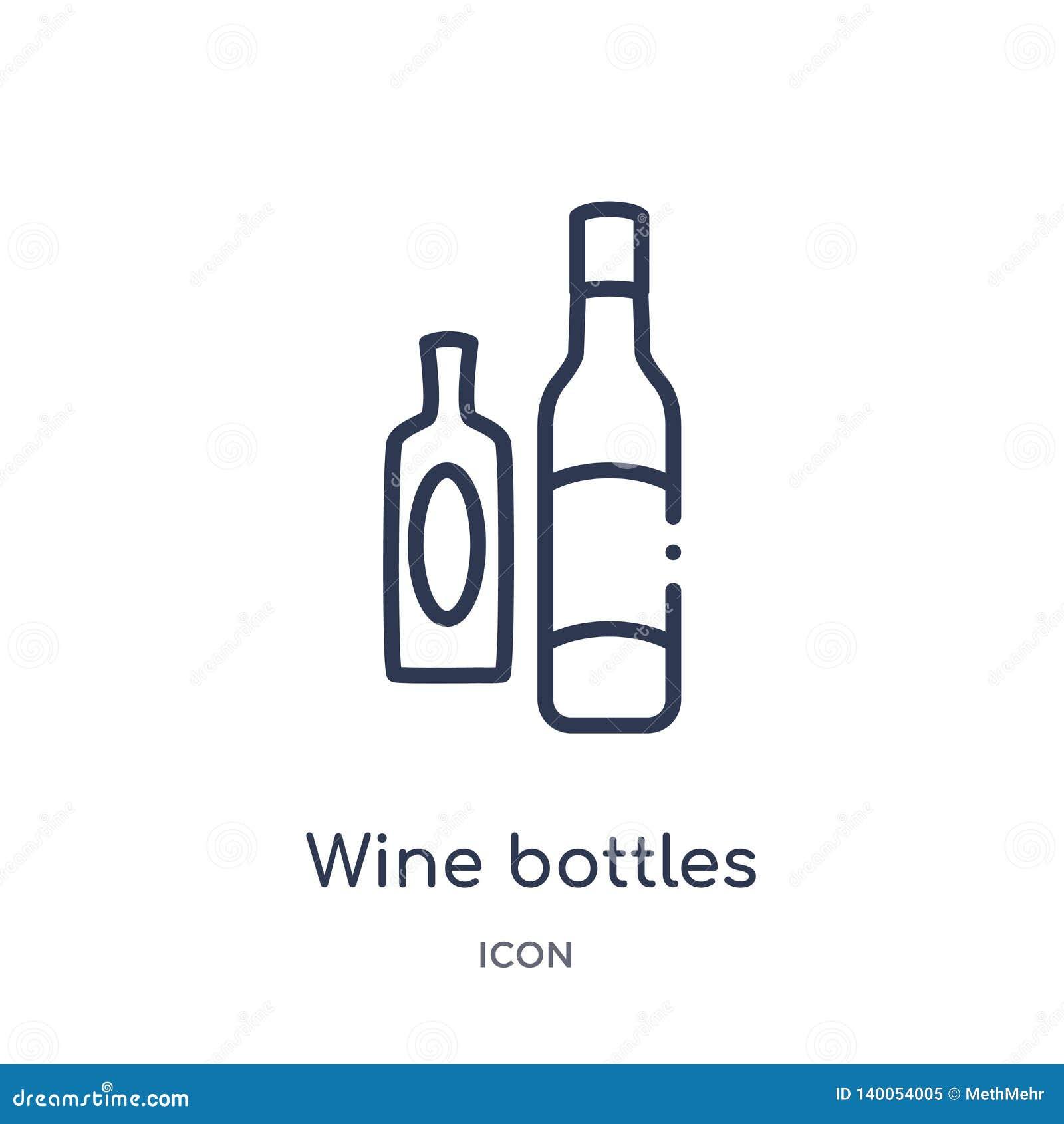 Icono linear de las botellas de vino de la colección del esquema de las bebidas Línea fina vector de las botellas de vino aislado