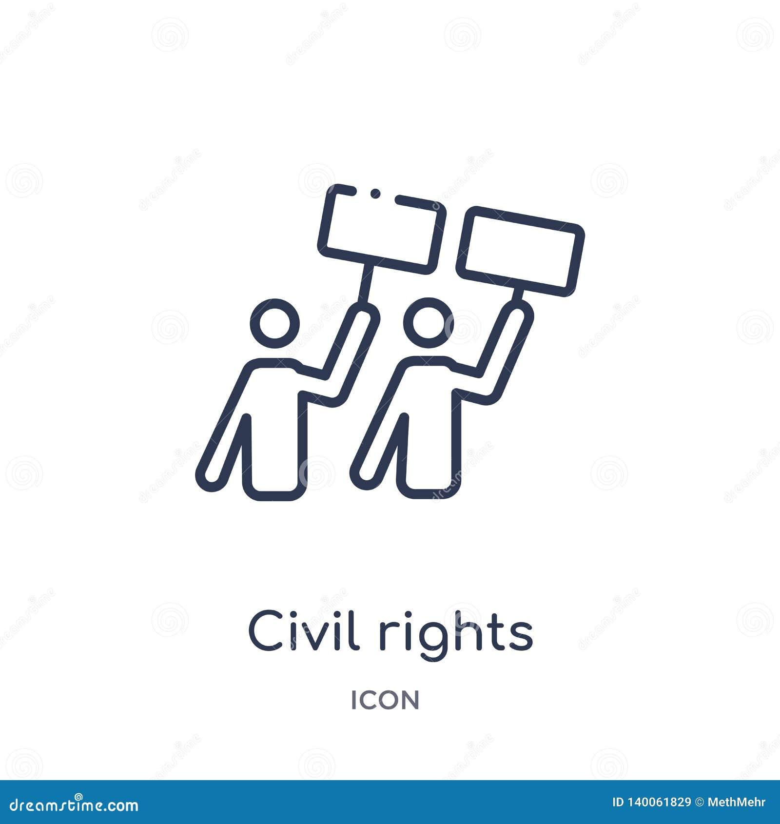 Icono linear de las derechas civiles de la colección del esquema de la ley y de la justicia Línea fina icono de las derechas civi