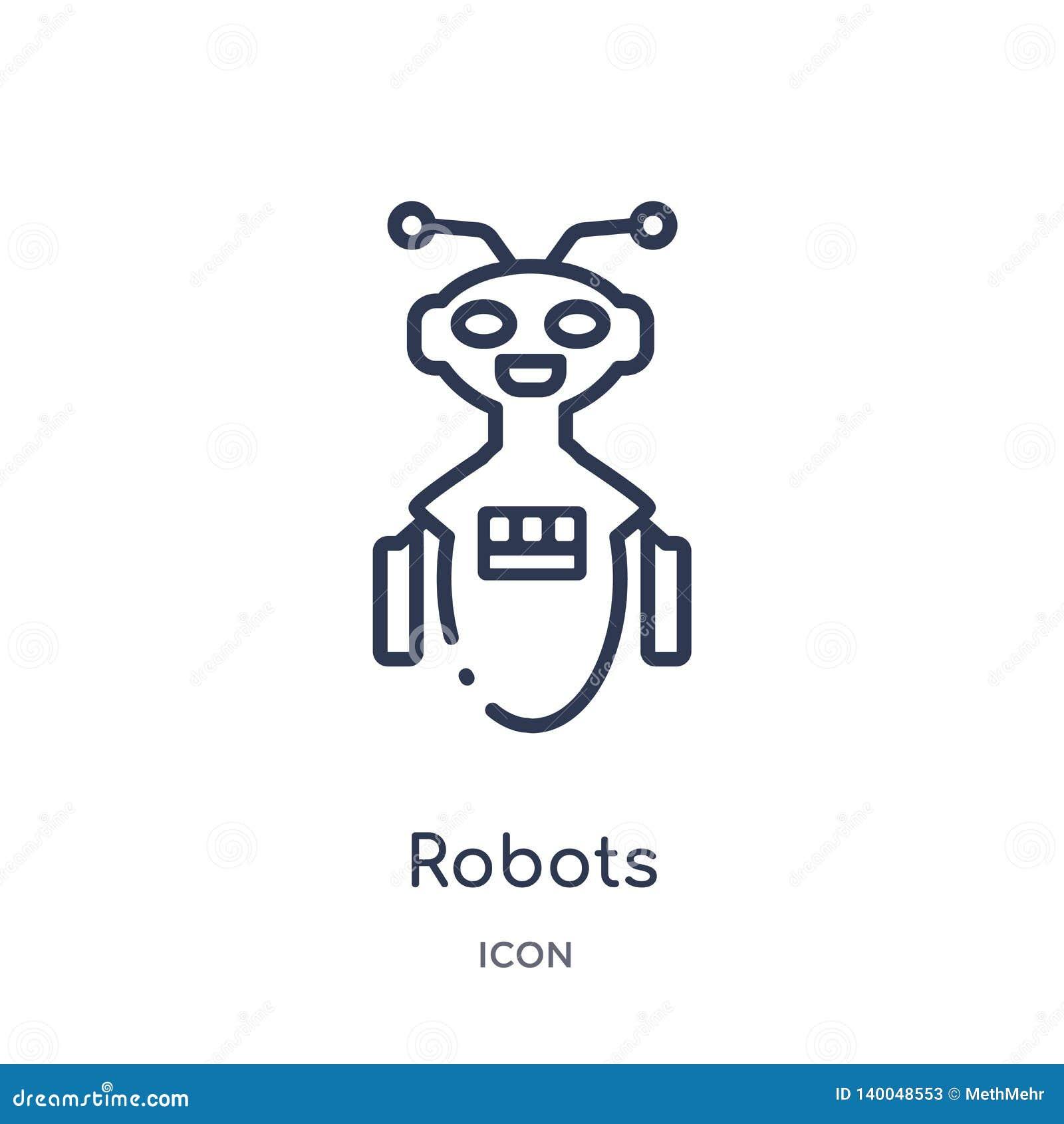 Icono linear de los robots del intellegence artificial y de la colección futura del esquema de la tecnología Línea fina vector de