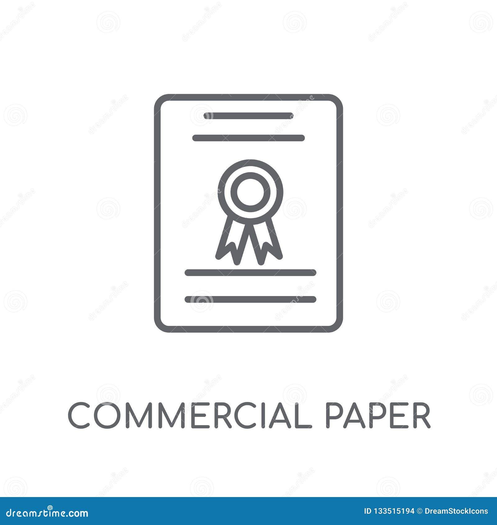 Icono linear de papel comercial Lo de papel comercial del esquema moderno