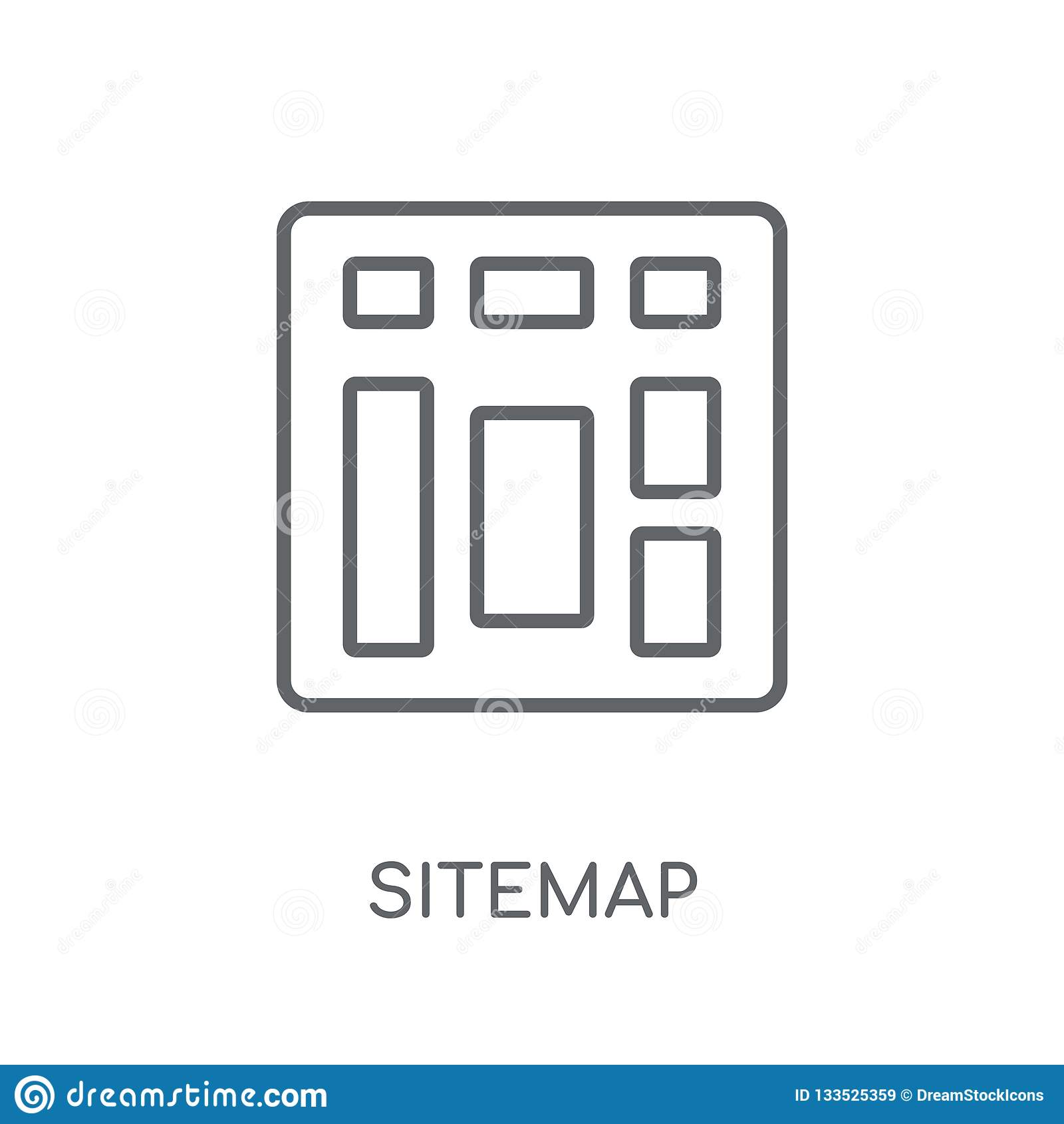 Icono linear de Sitemap Concepto moderno del logotipo de Sitemap del esquema en pizca