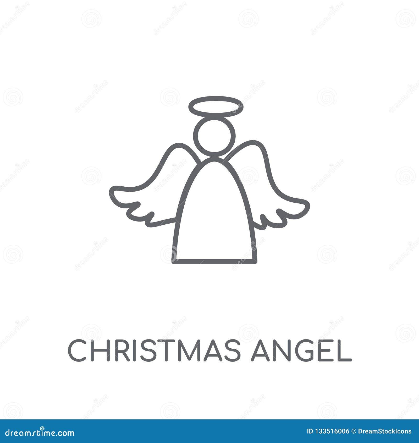 Icono linear del ángel de la Navidad Logotipo moderno del ángel de la Navidad del esquema