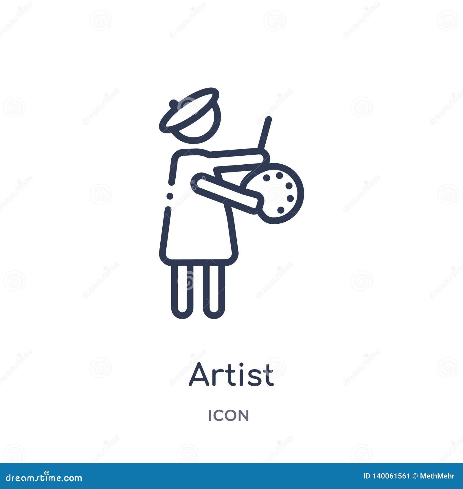Icono linear del artista de la colección del esquema de los beneficios del trabajo Línea fina icono del artista aislado en el fon