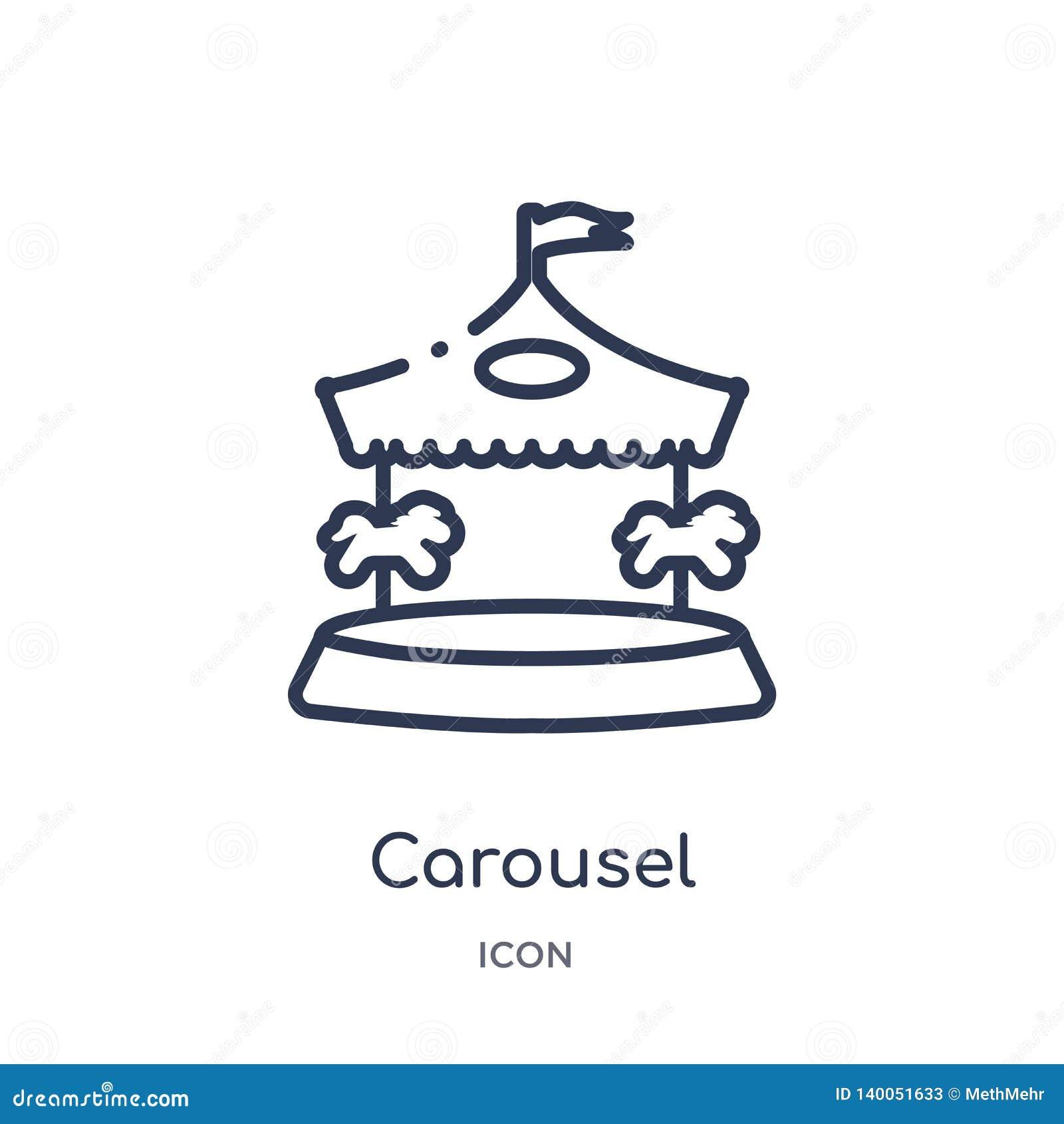 Icono linear del carrusel de la colección del esquema del circo Línea fina vector del carrusel aislado en el fondo blanco carruse