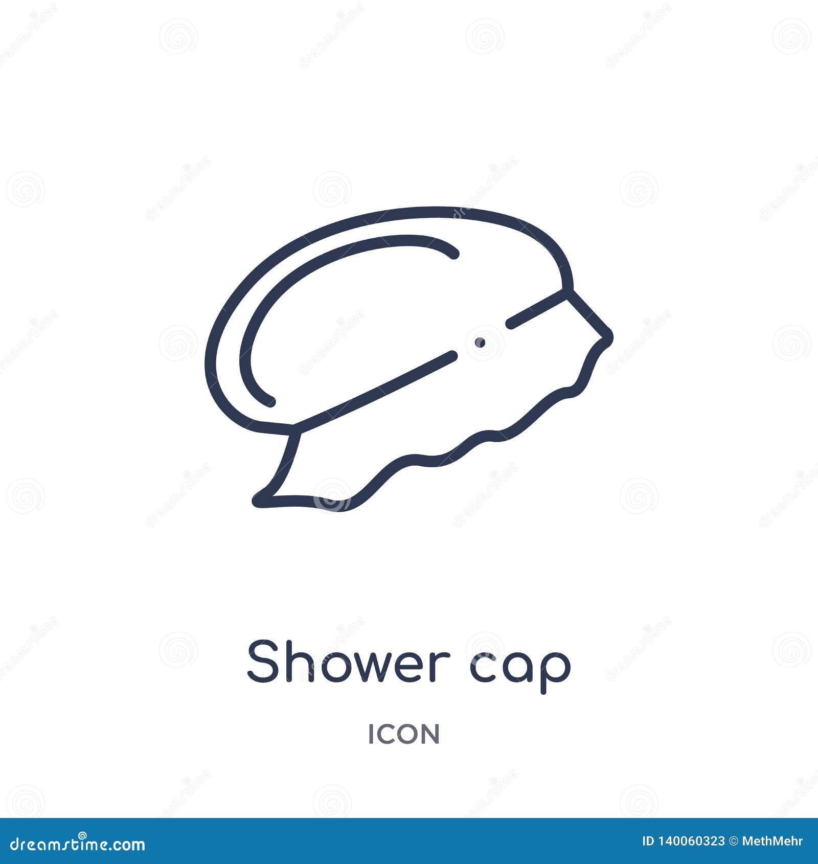 Icono linear del casquillo de ducha de la colección del esquema de la higiene Línea fina icono del casquillo de ducha aislado en