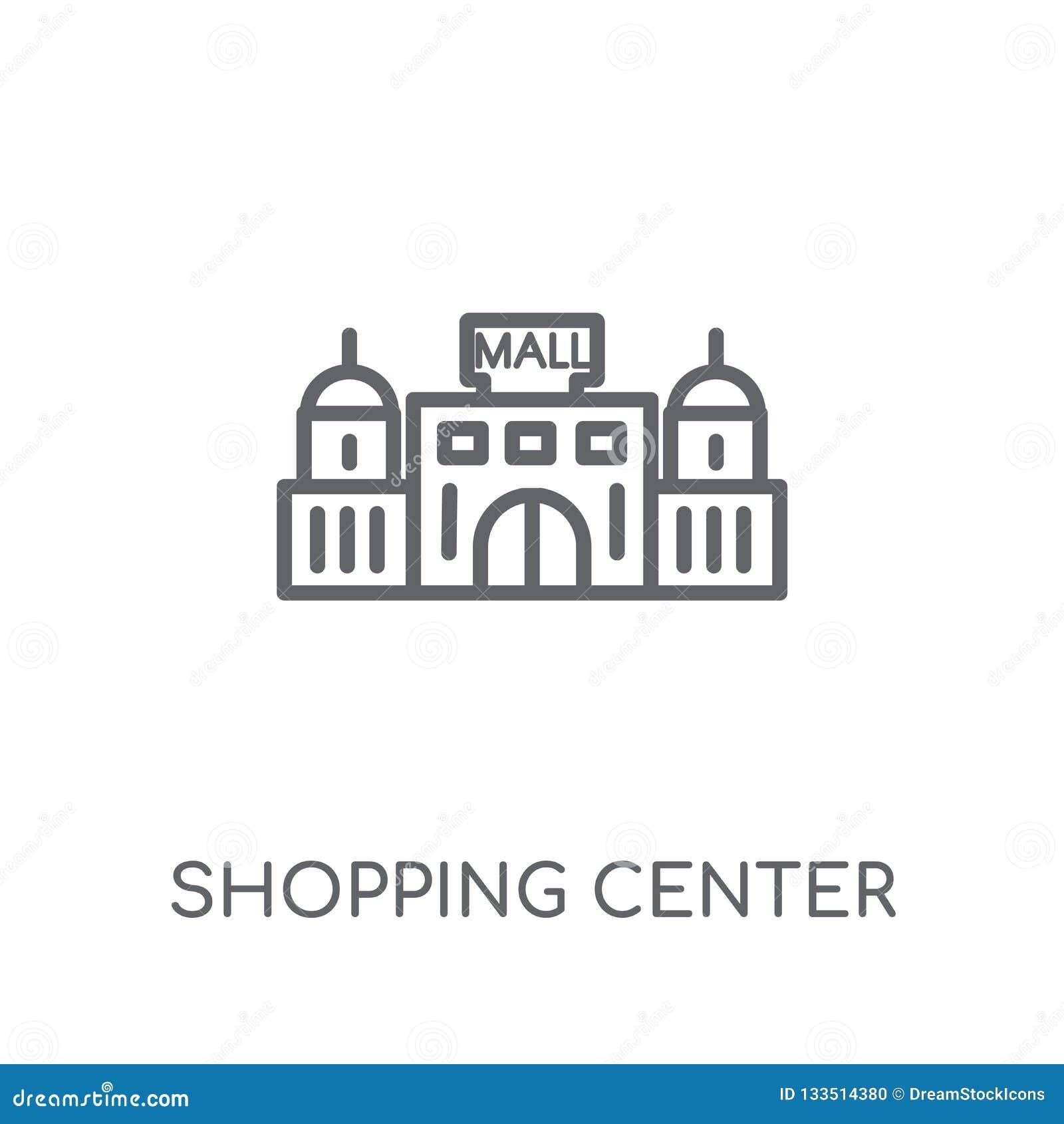 Icono linear del centro comercial Logotipo moderno del centro comercial del esquema