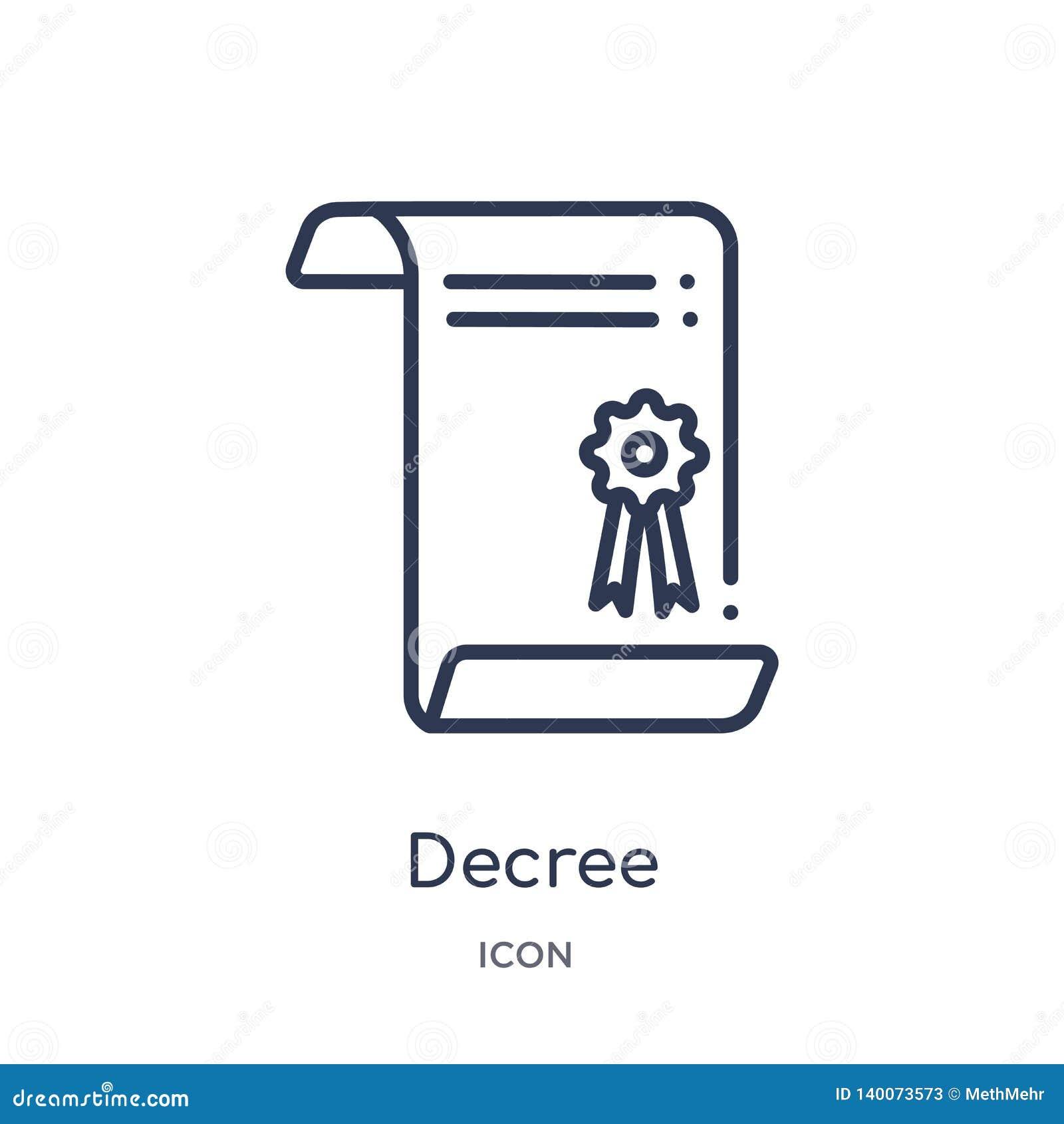 Icono linear del decreto de la colección del esquema de los gestos Línea fina icono del decreto aislado en el fondo blanco decret