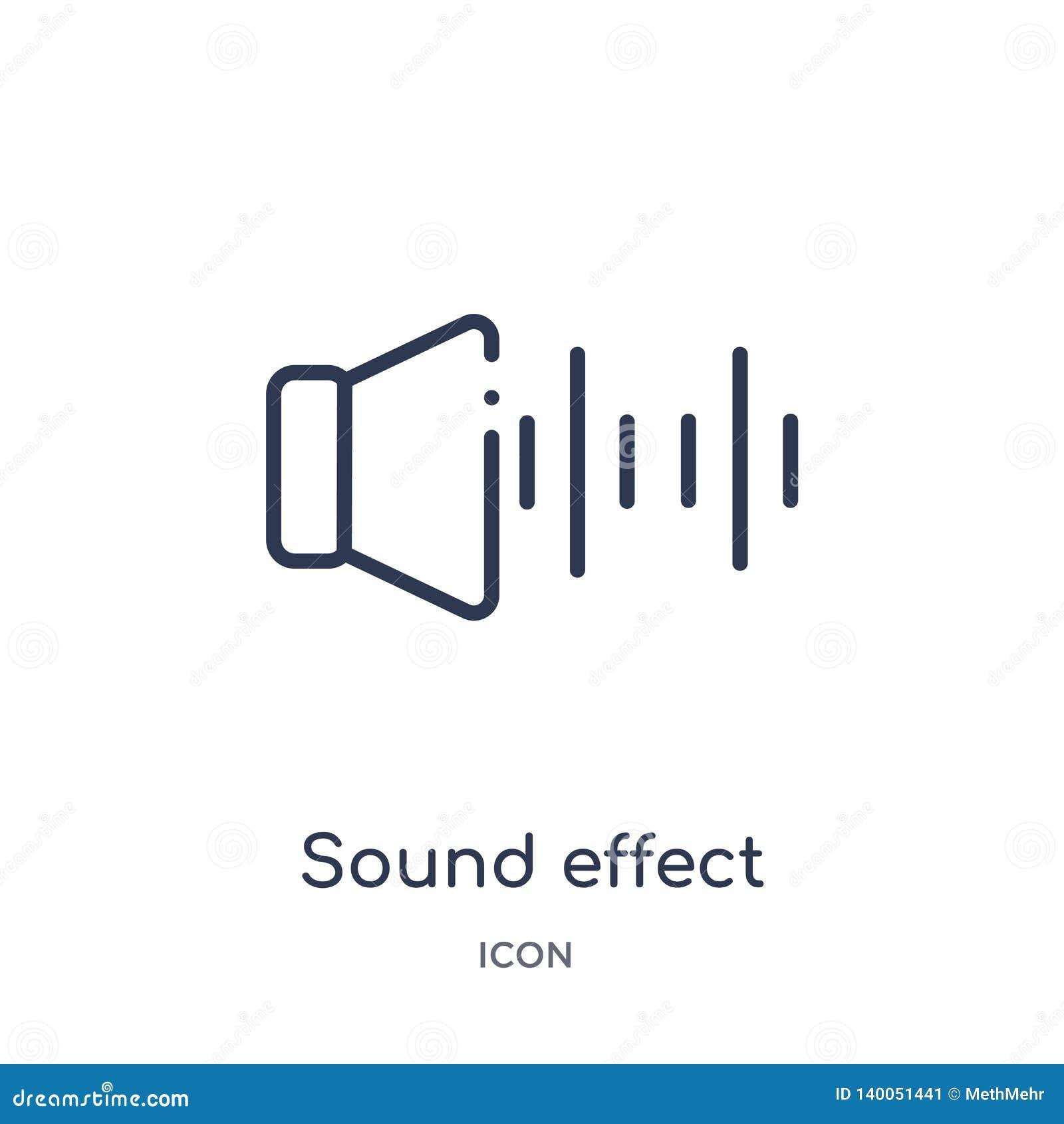 Icono linear del efecto sonoro de la colección del esquema del cine Línea fina vector del efecto sonoro aislado en el fondo blanc