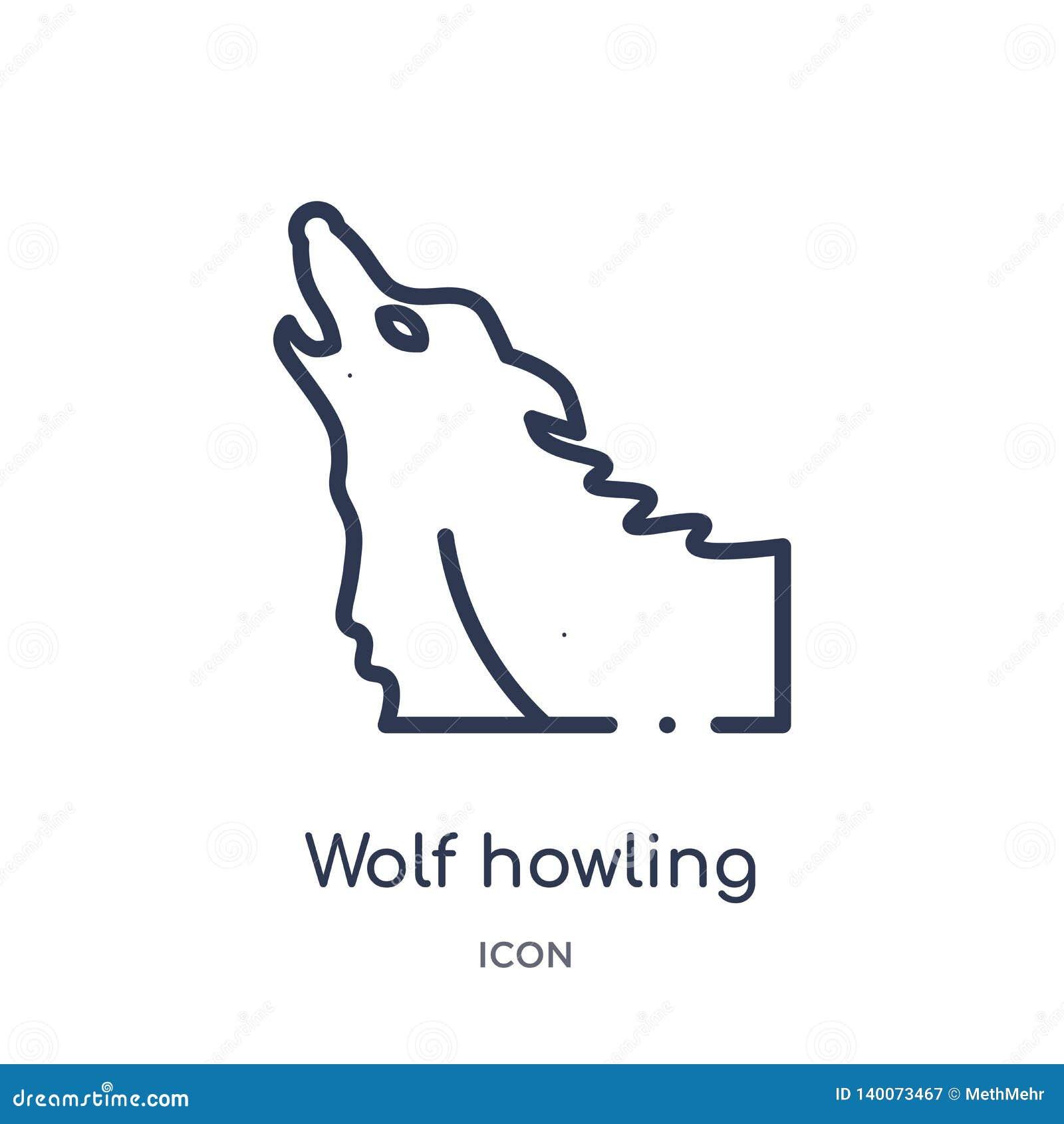 Icono linear del grito del lobo de la colección del esquema general Línea fina icono del grito del lobo aislado en el fondo blanc