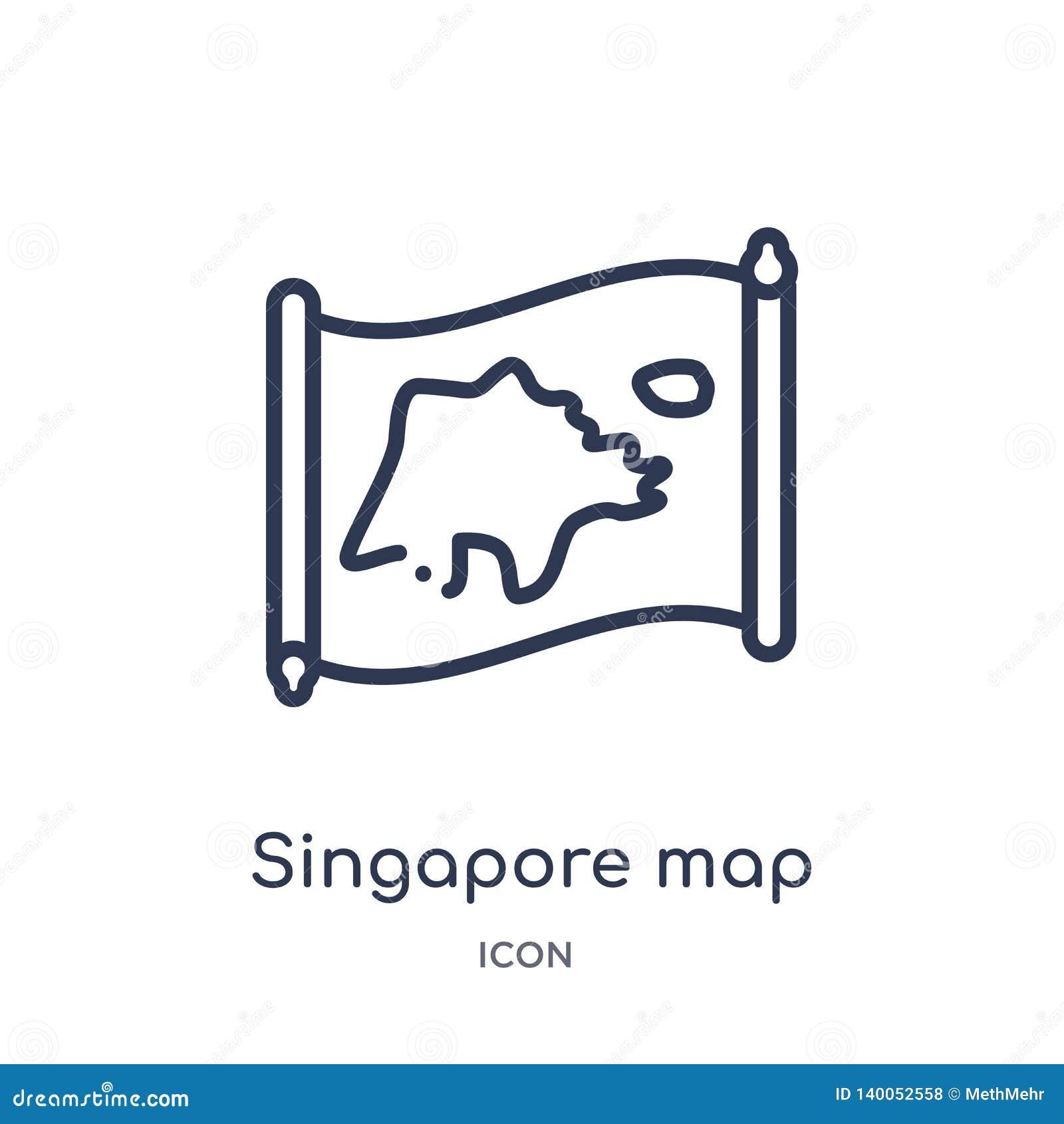 Icono linear del mapa de Singapur de la colección del esquema de Countrymaps Línea fina vector del mapa de Singapur aislado en el