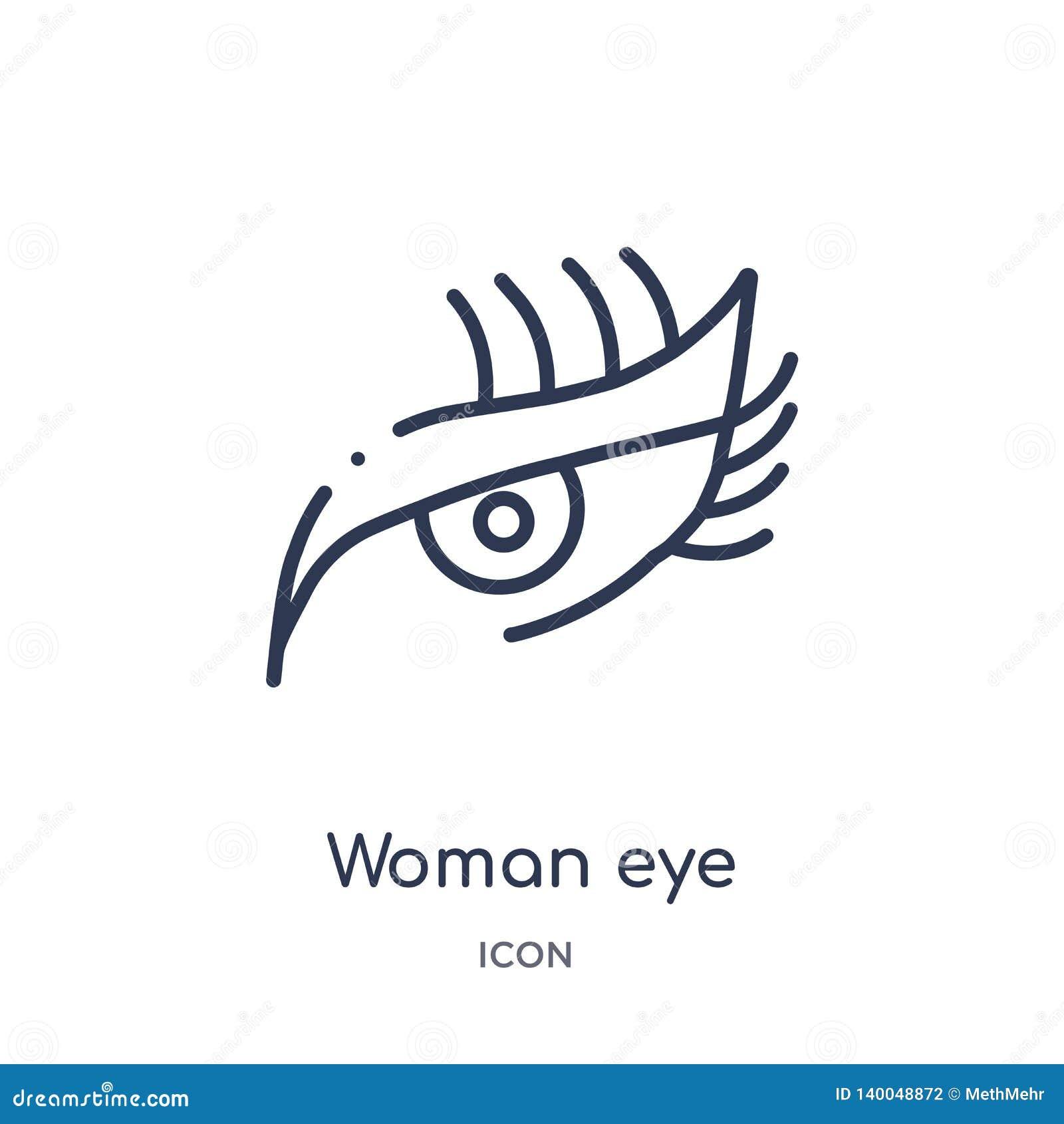 Icono linear del ojo de la mujer de la colección del esquema de la belleza Línea fina vector del ojo de la mujer aislado en el fo