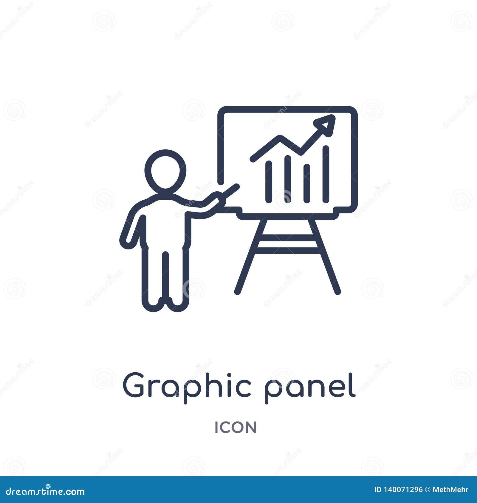 Icono linear del panel gráfico y del hombre de la colección del esquema del negocio Línea fina icono del panel gráfico y del homb