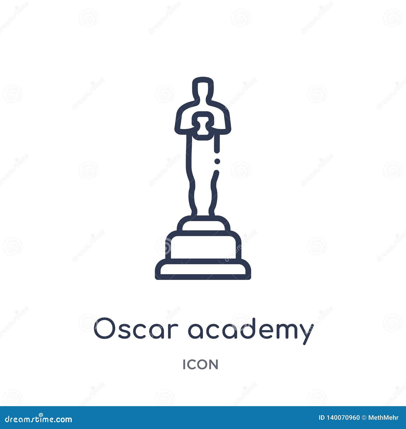 Icono linear del premio de la Academia de Óscar de la colección del esquema del cine Línea fina icono del premio de la Academia d