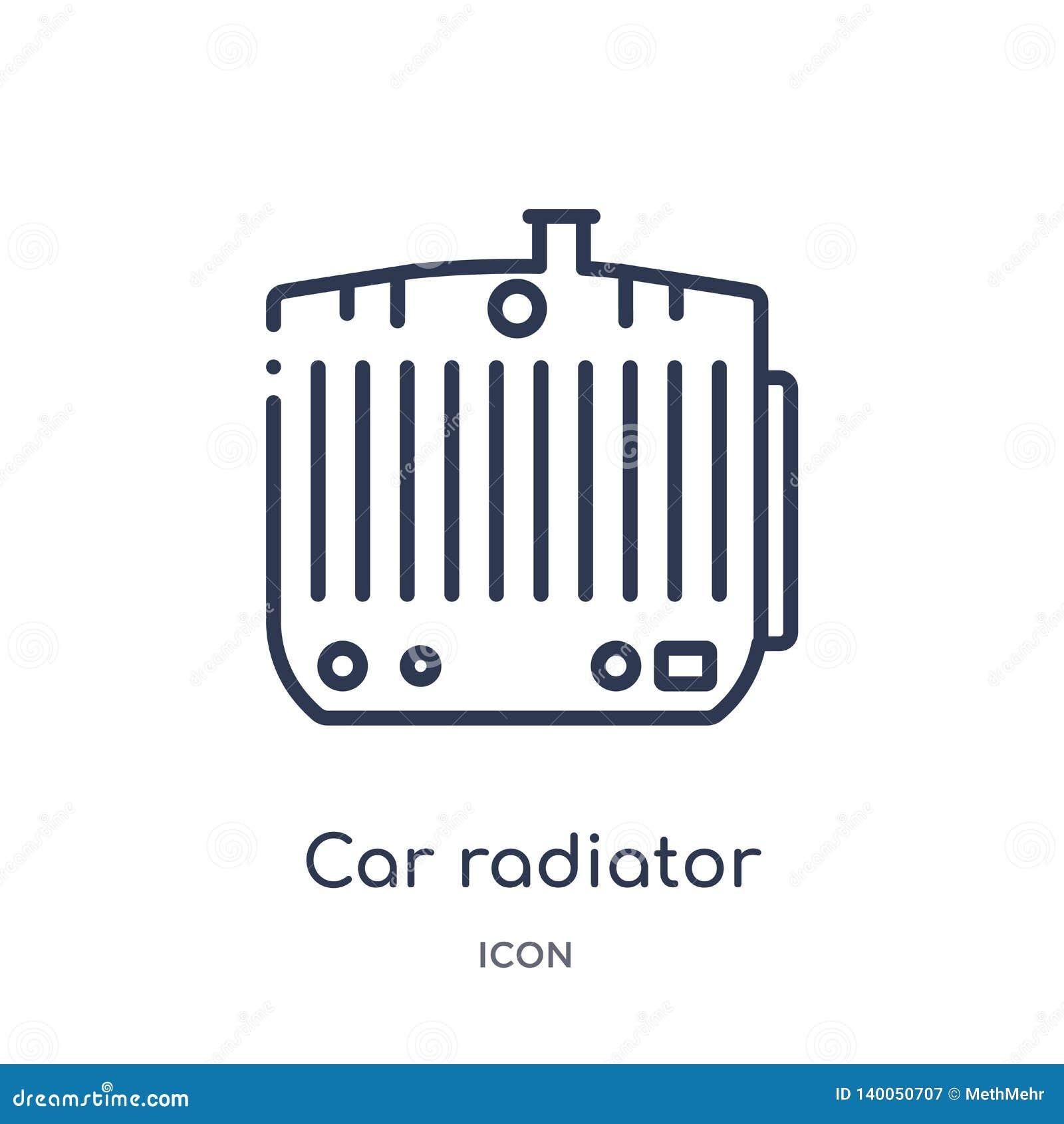 Icono linear del radiador del coche de la colección del esquema de las piezas del coche Línea fina vector del radiador del coche