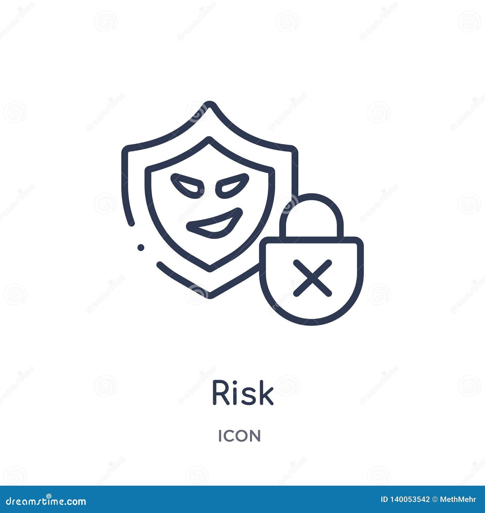 Icono linear del riesgo de la colección cibernética del esquema Línea fina vector del riesgo aislado en el fondo blanco ejemplo d