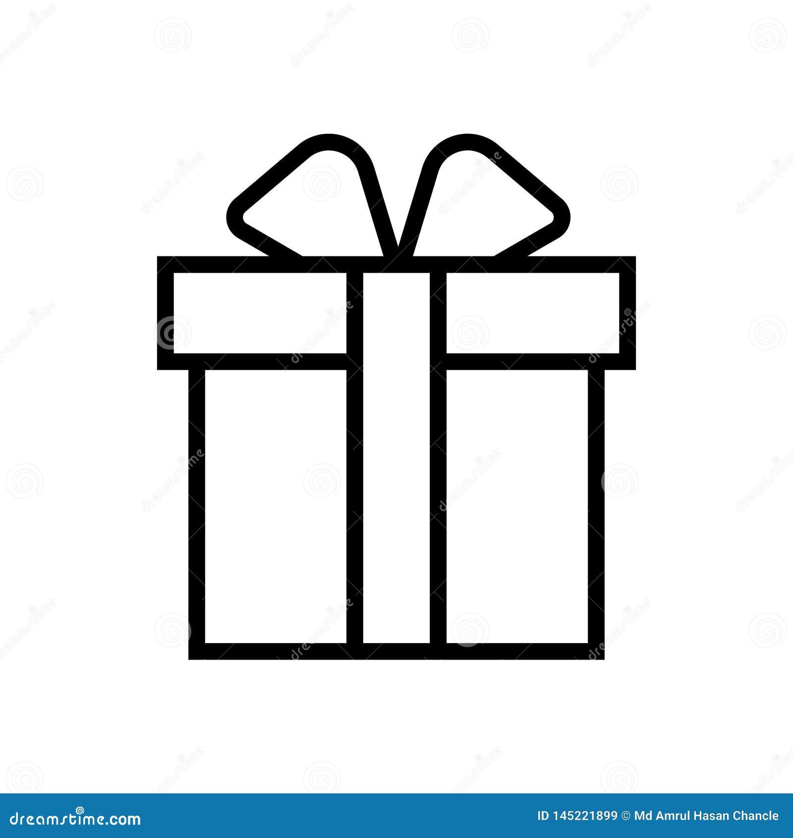 Icono linear del símbolo del ejemplo del vector del regalo del negro del regalo