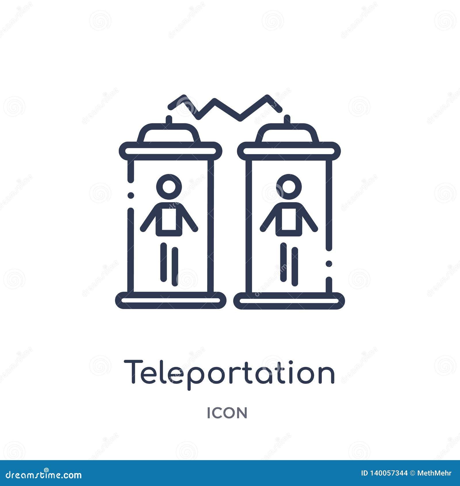 Icono linear del teleportation de la colección futura del esquema de la tecnología Línea fina icono del teleportation aislado en