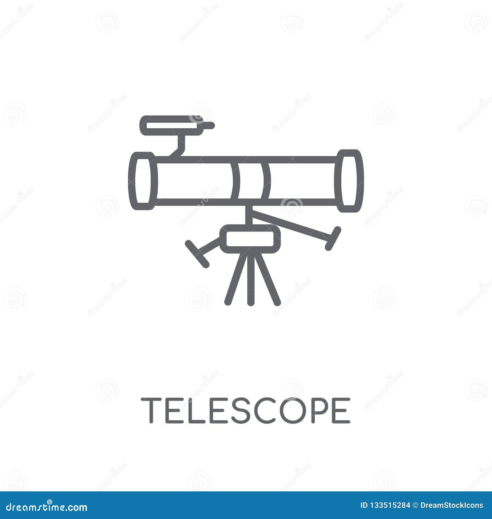 Icono linear del telescopio Concepto moderno del logotipo del telescopio del esquema encendido