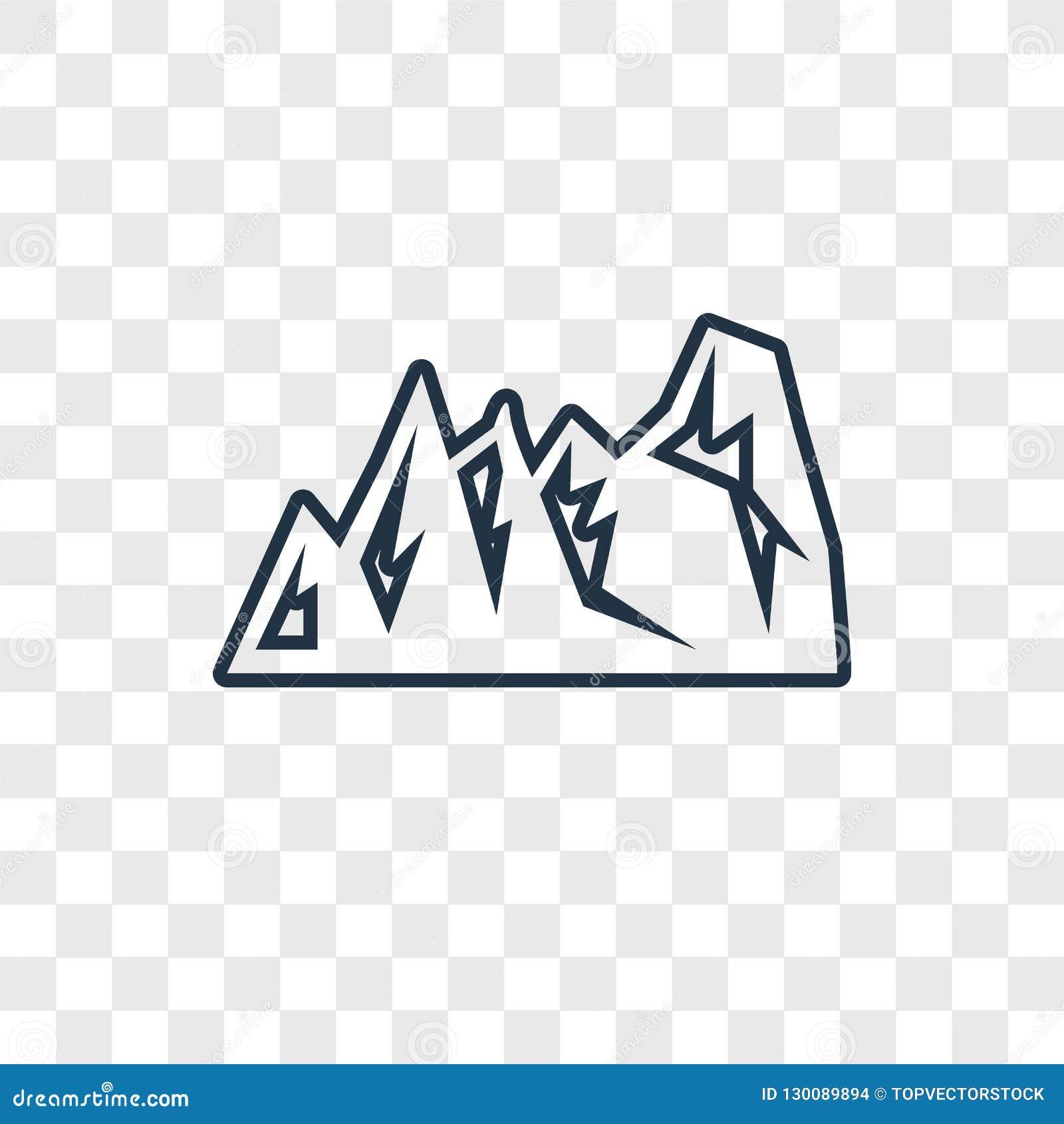 Icono linear del vector del concepto de la montaña aislado en la parte posterior transparente