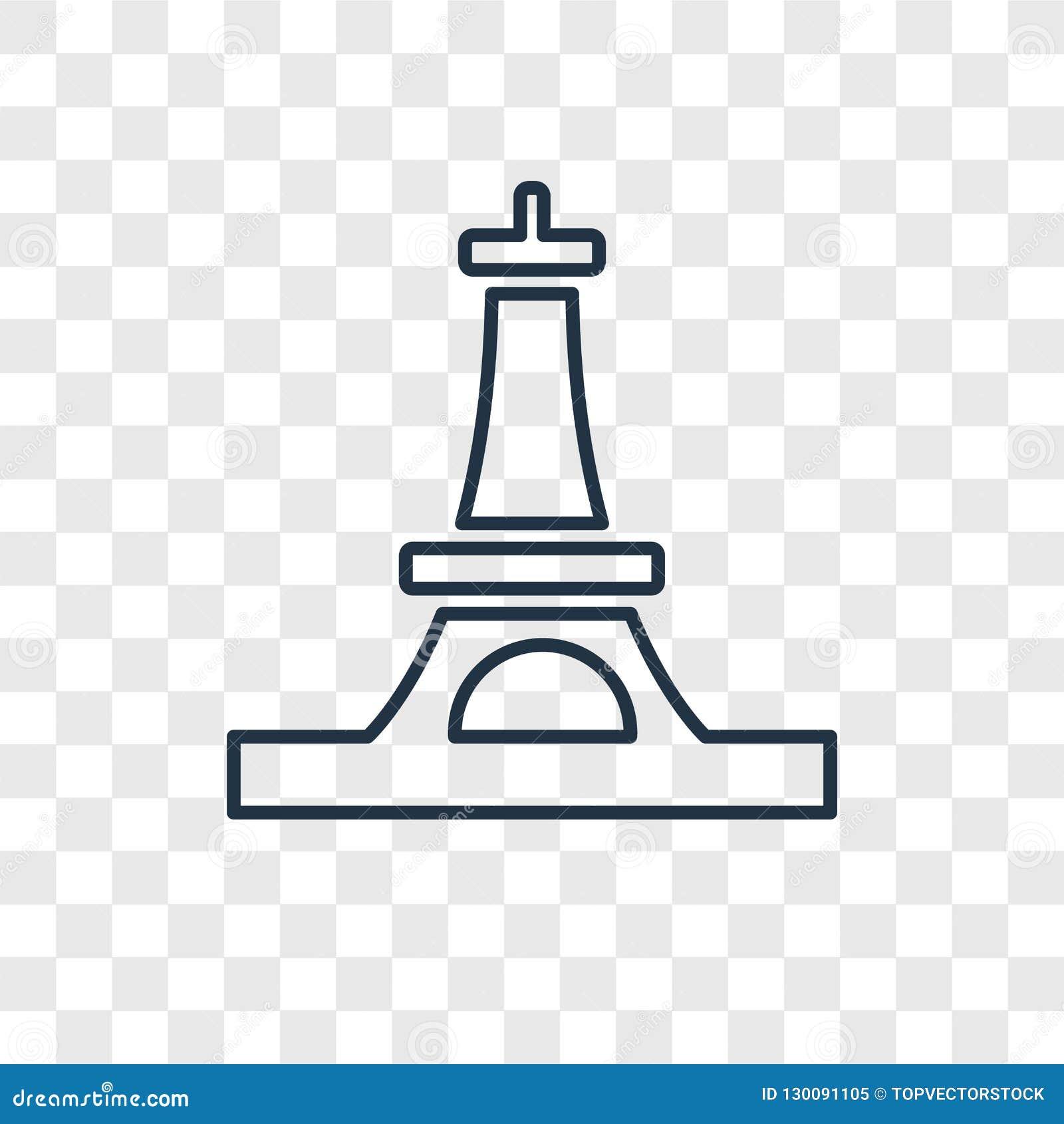 Icono linear del vector del concepto de la torre Eiffel aislado en transparente