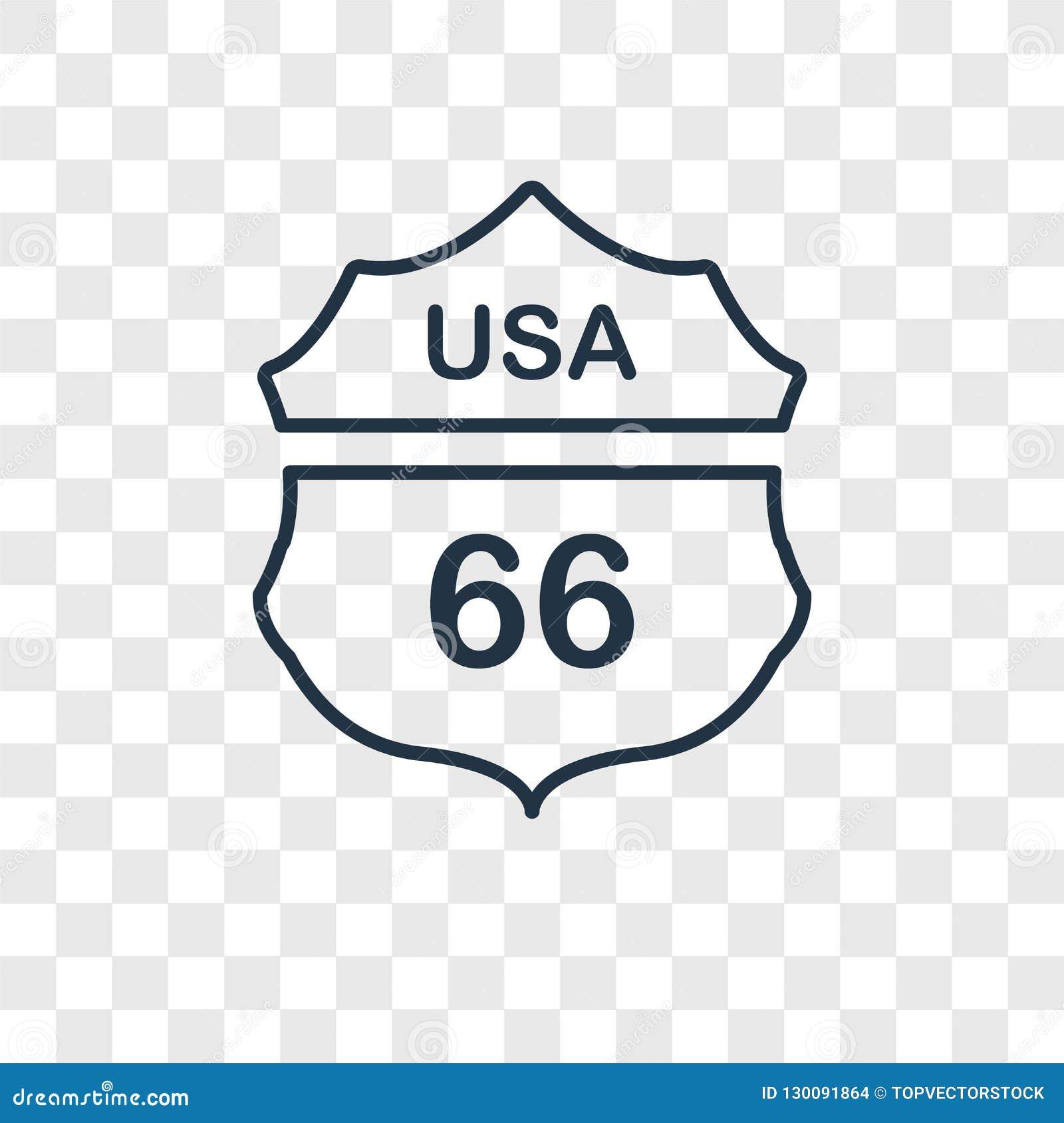 Icono linear del vector del concepto de Route 66 aislado en la parte posterior transparente